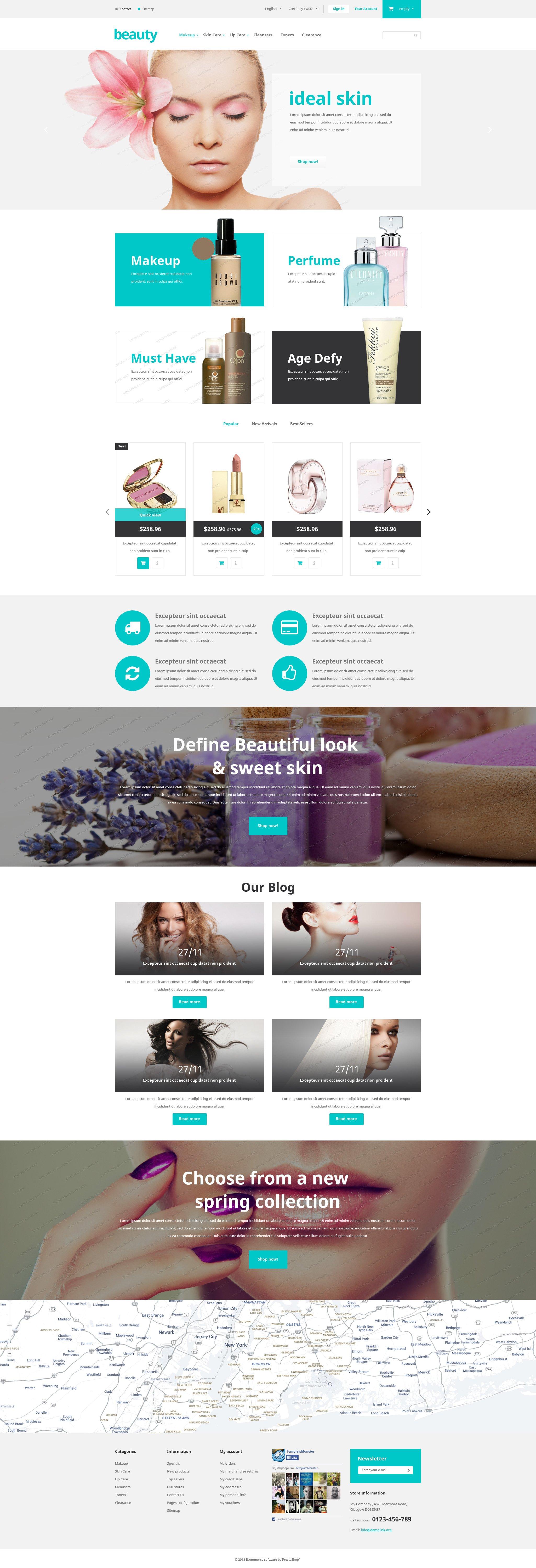 """""""Modèle PrestShop gratuit pour les magasins de beauté"""" thème PrestaShop adaptatif #53354"""