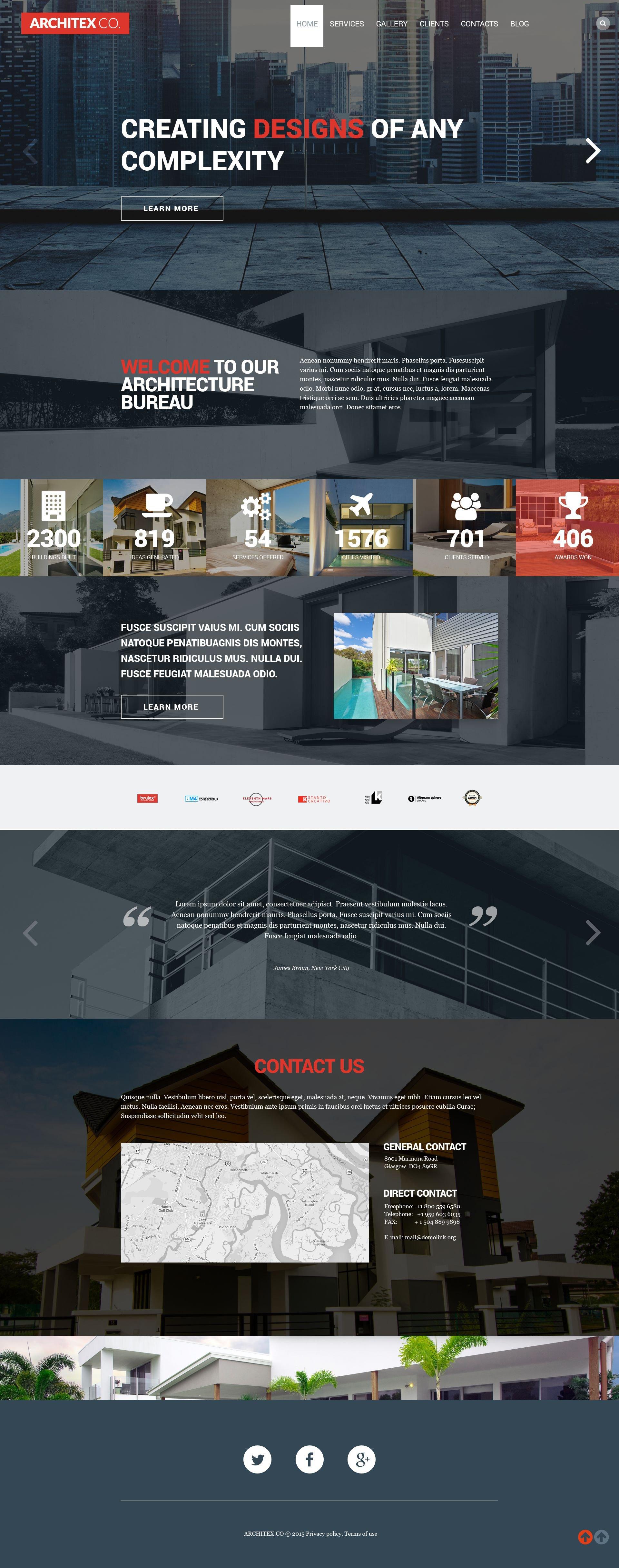 "Modello WordPress Responsive #53384 ""Architecture"" - screenshot"