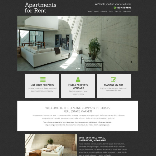 Apartments For Rent - Responsive Drupal Template