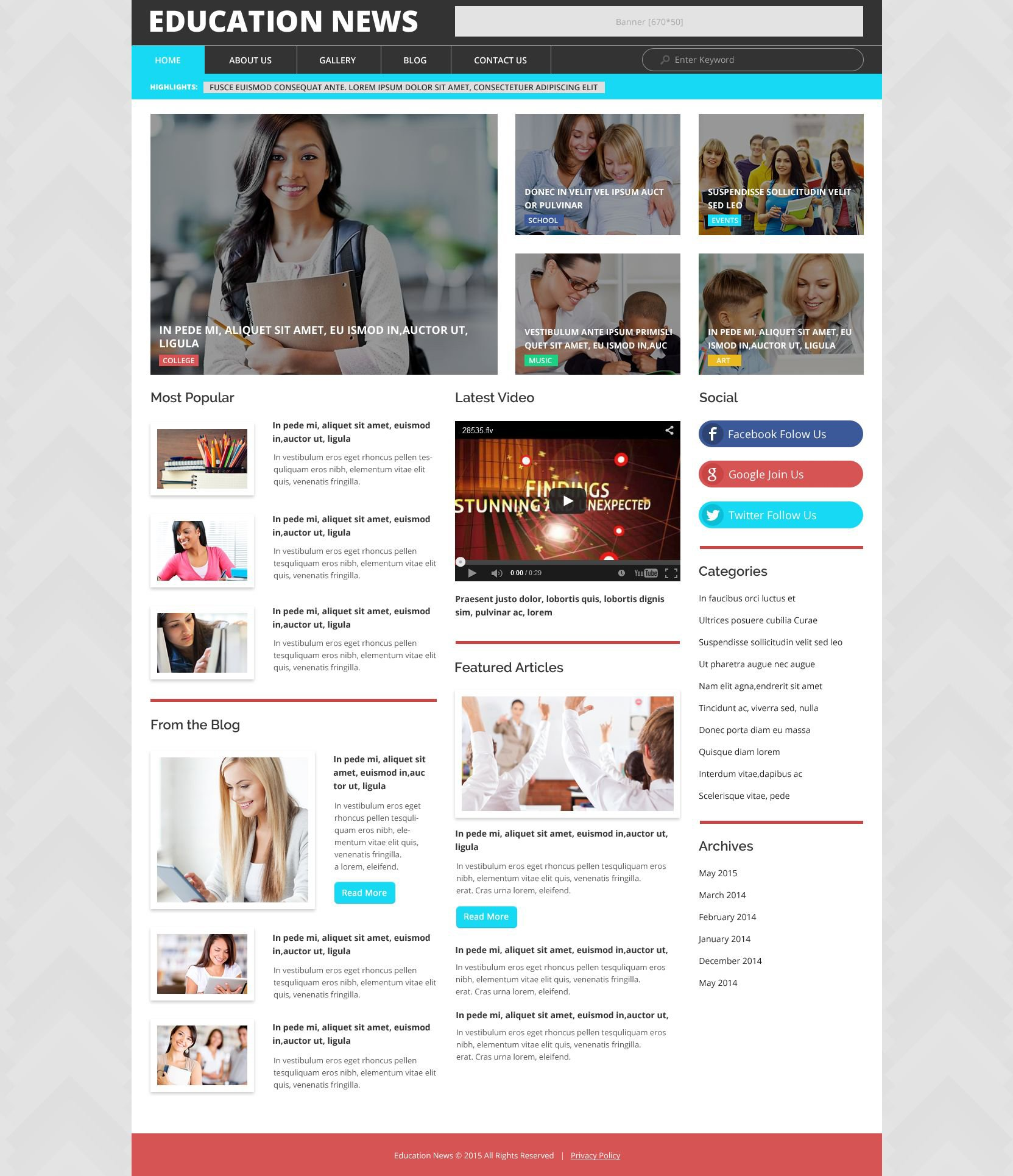 Responsive Education News Wordpress #53365