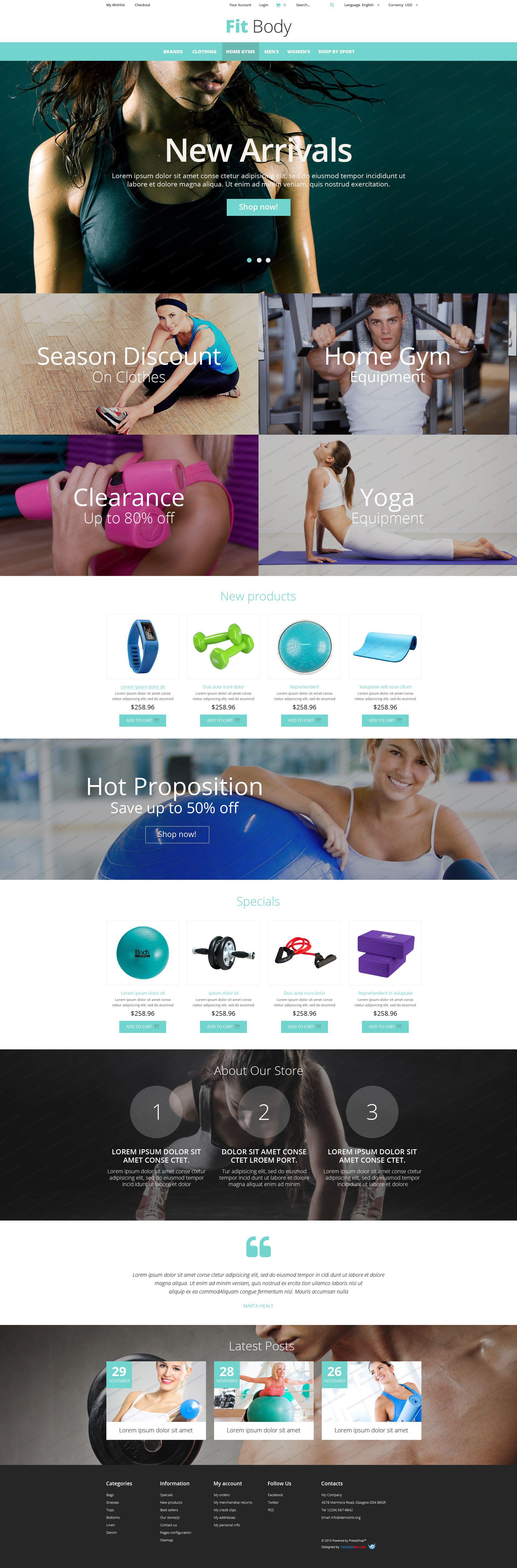 Responsive Fitness Magento Free Theme #53327