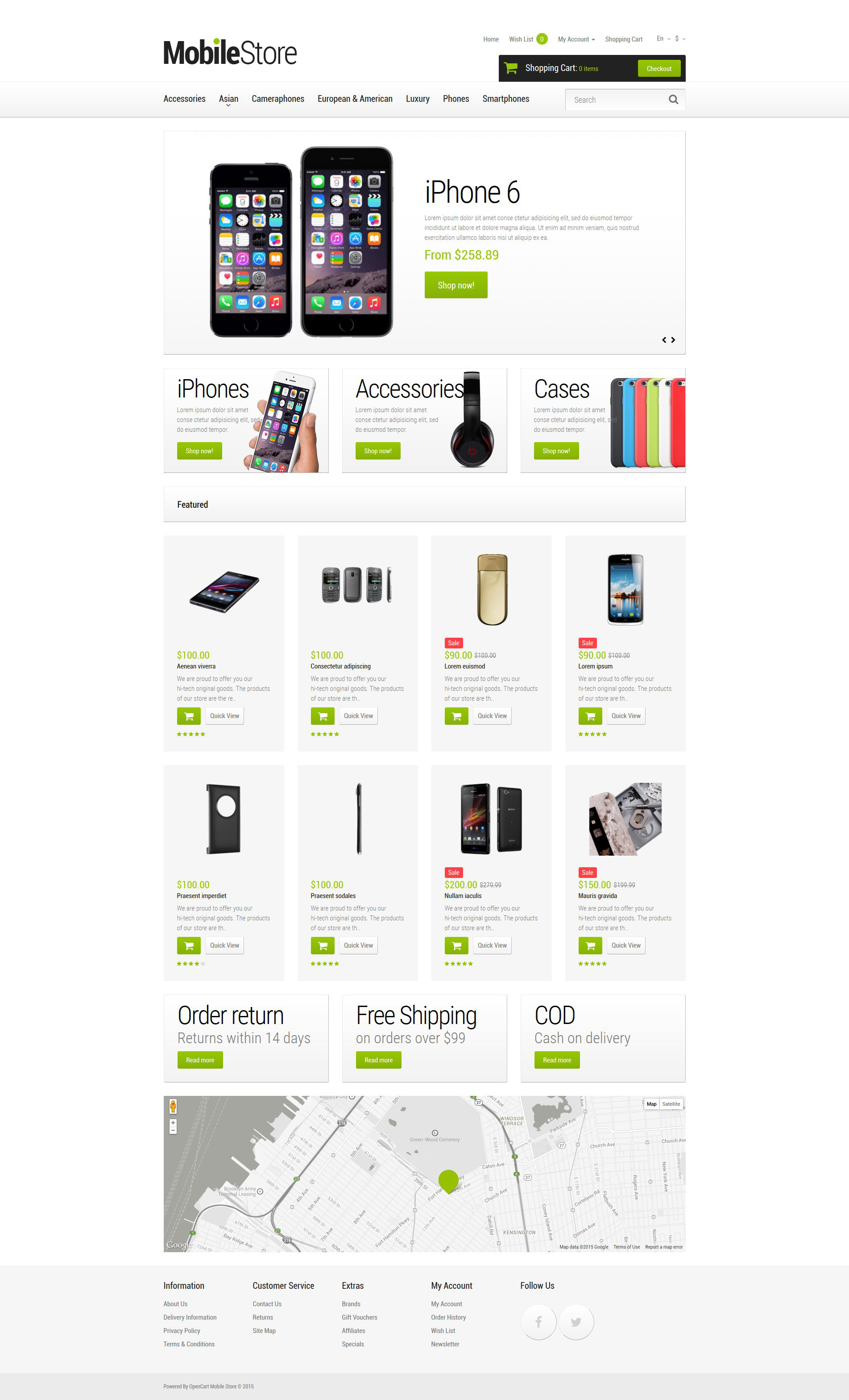 Responsive Mobile Phones Opencart #53398