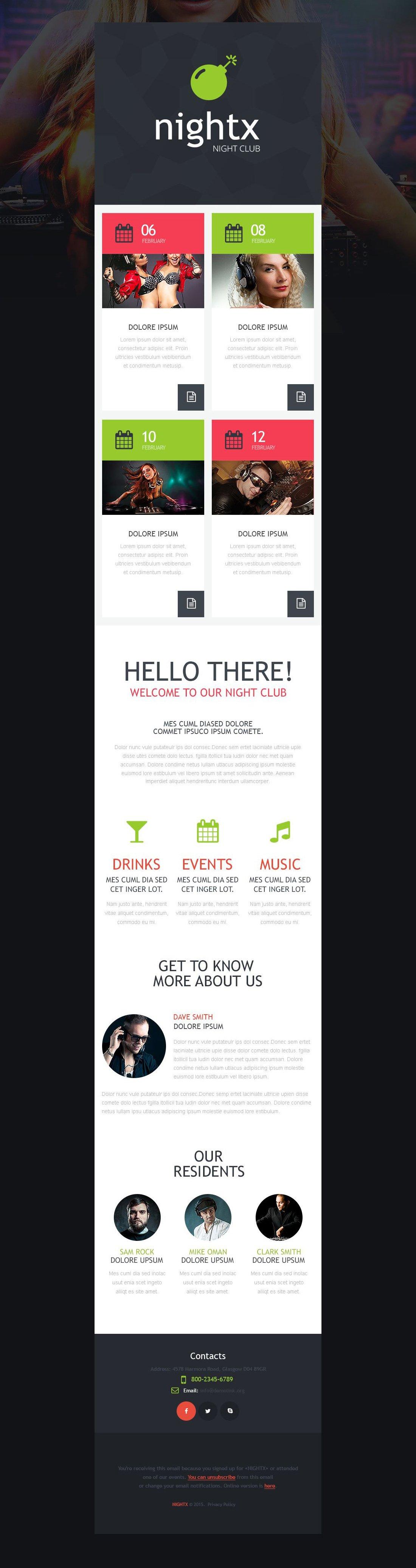 Responsive Newsletter Vorlage für Nachtclub #53343