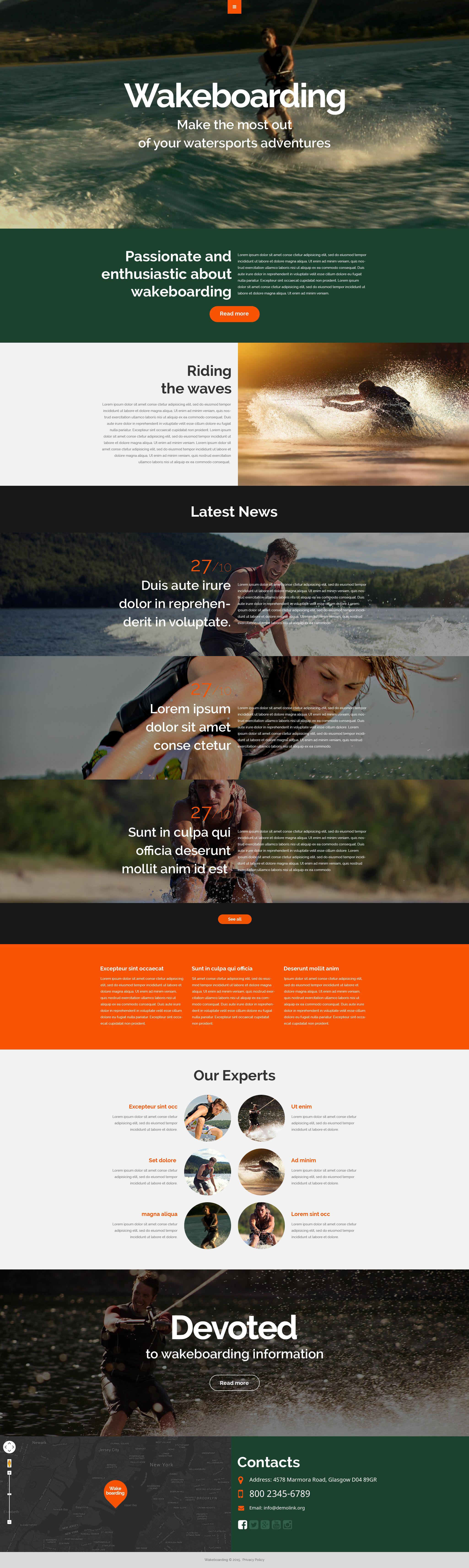 Responsive Website Vorlage für Wakeboarden #53318