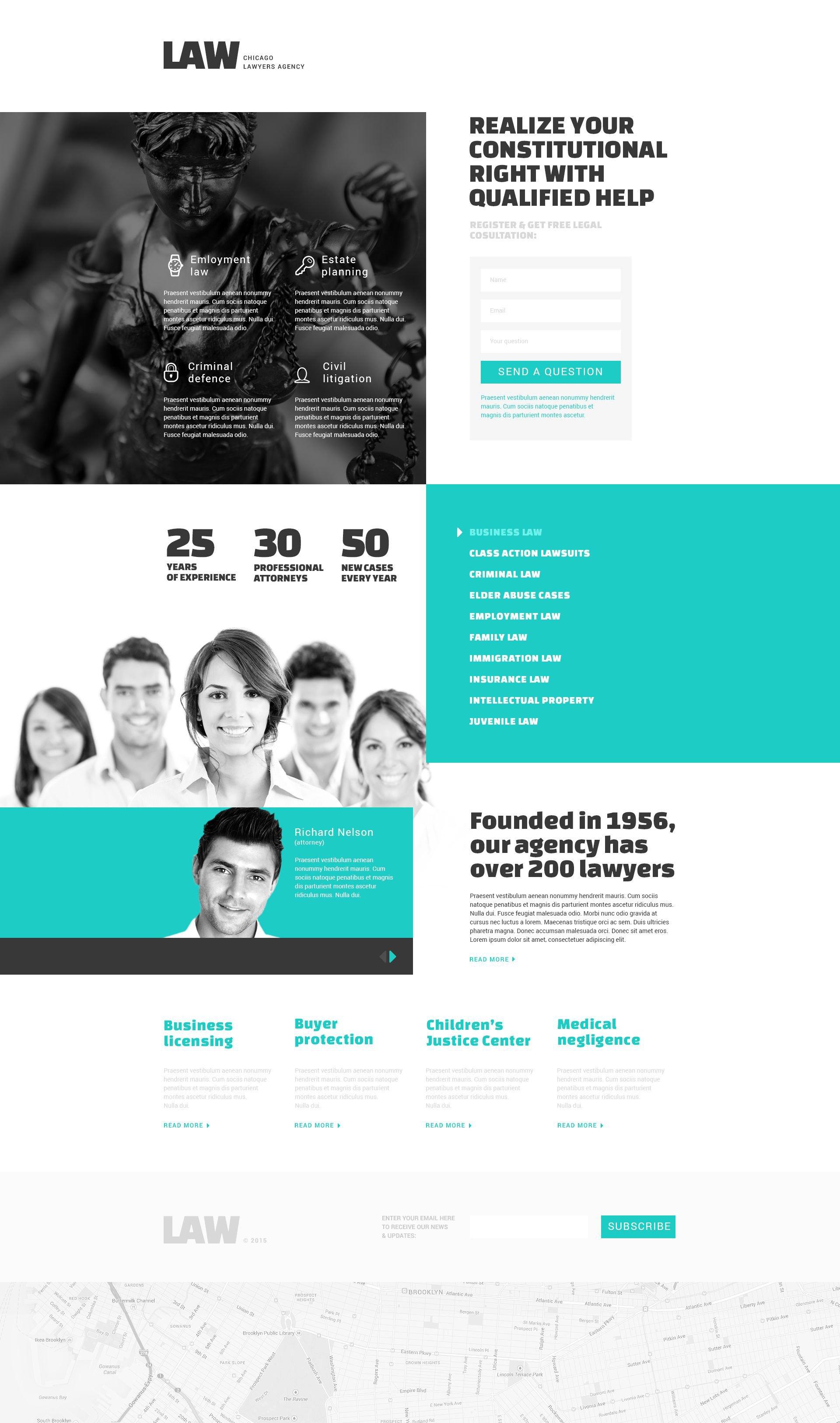 Responsives Landing Page Template für Anwaltskanzlei #53359