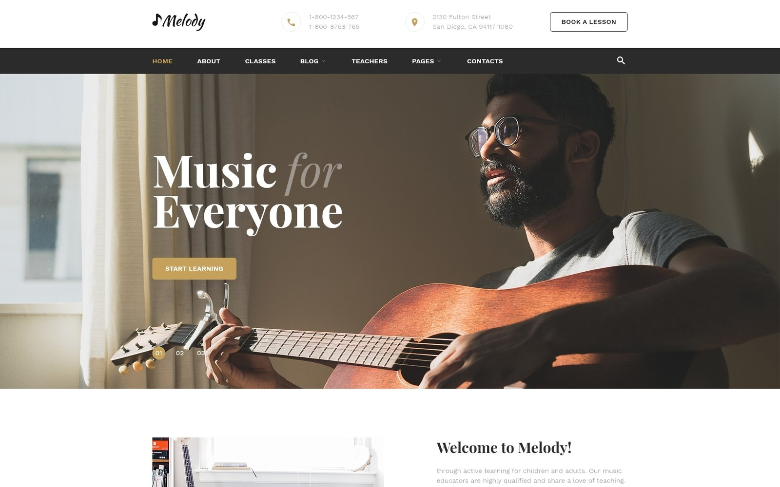 Responsivt Melody - Music School Multipage HTML5 Hemsidemall #53334