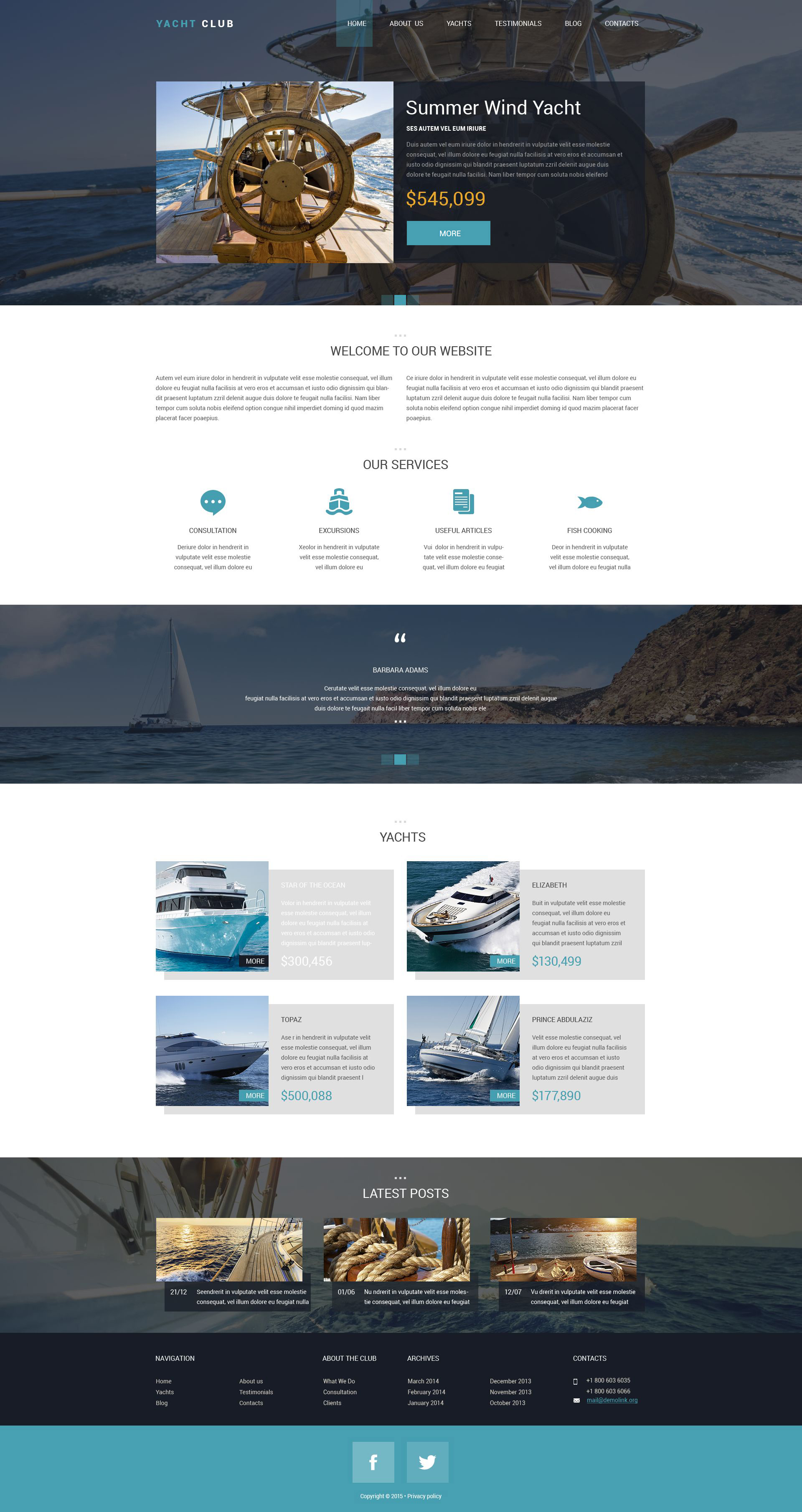 Responsywny szablon Drupal Yacht Club #53349