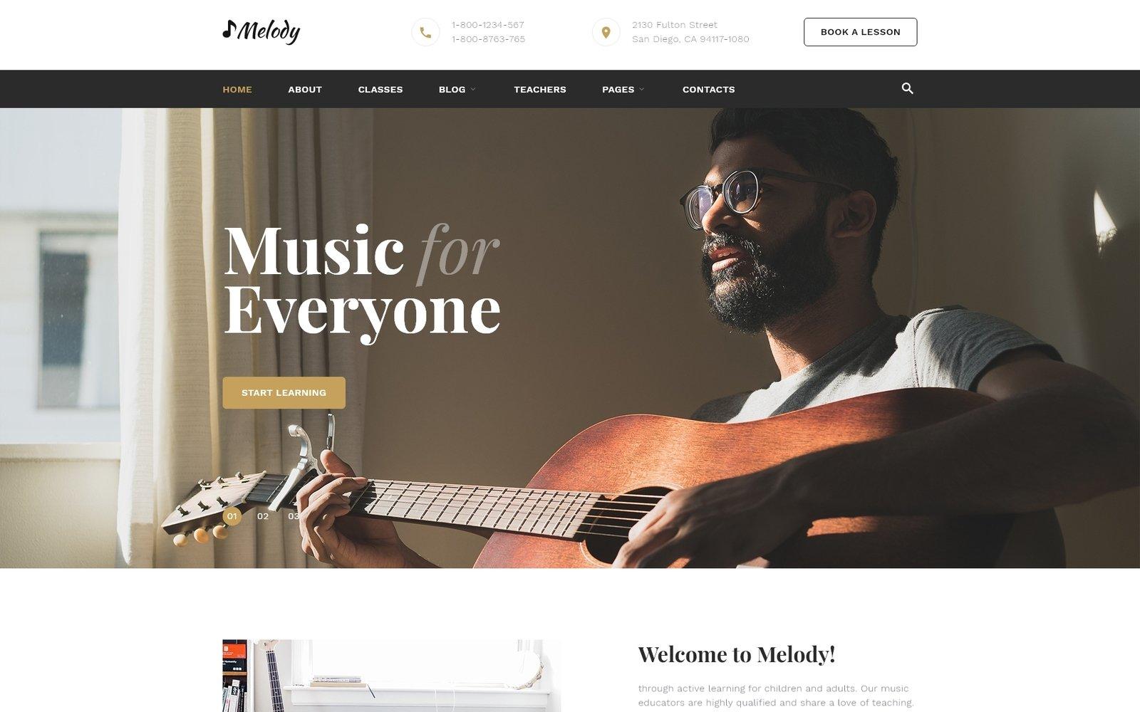 Reszponzív Melody - Music School Multipage HTML5 Weboldal sablon 53334