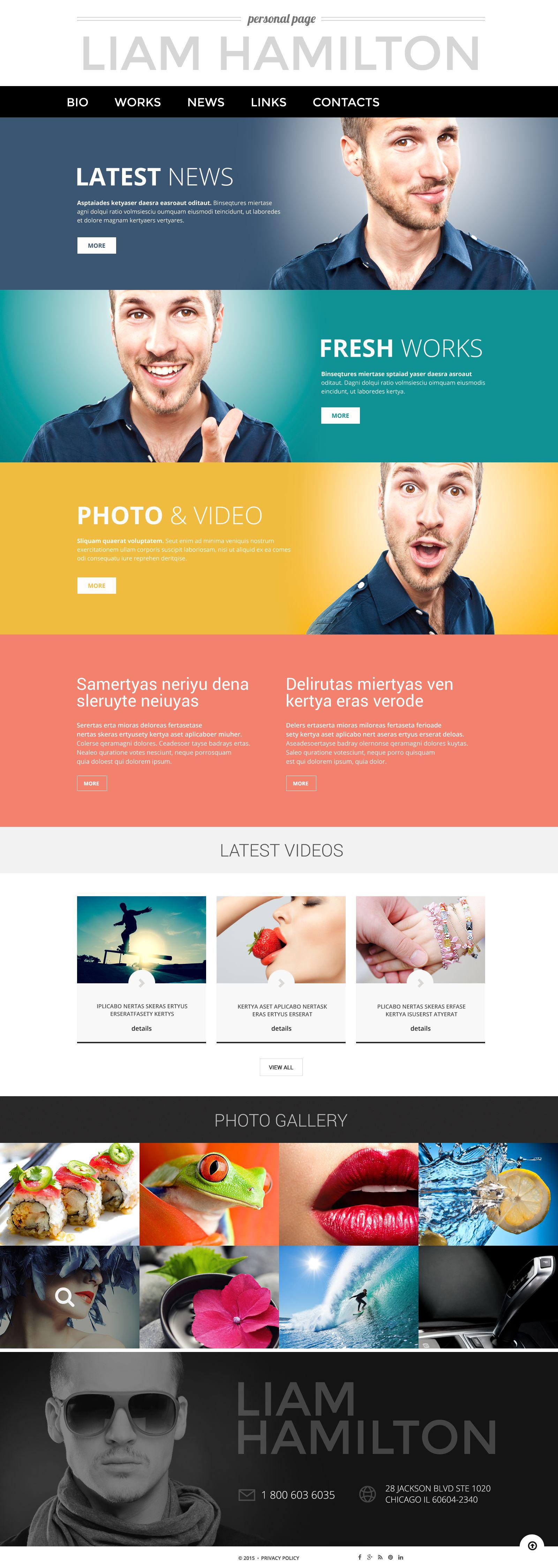 Reszponzív Personal Page WordPress sablon 53390 - képernyőkép