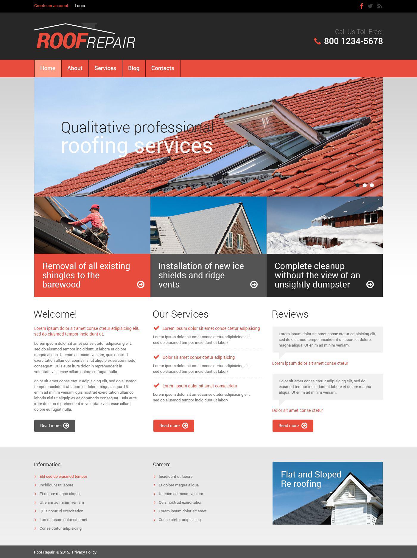 Reszponzív Tetőfedő cégek témakörű Drupal sablon 53351