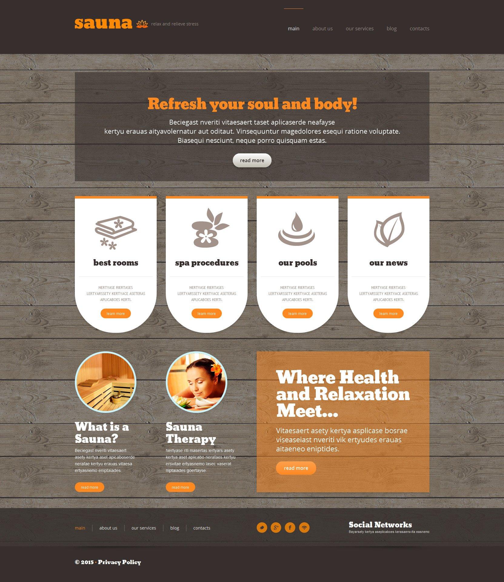 """Sauna Responsive WordPress Theme"" 响应式WordPress模板 #53302"