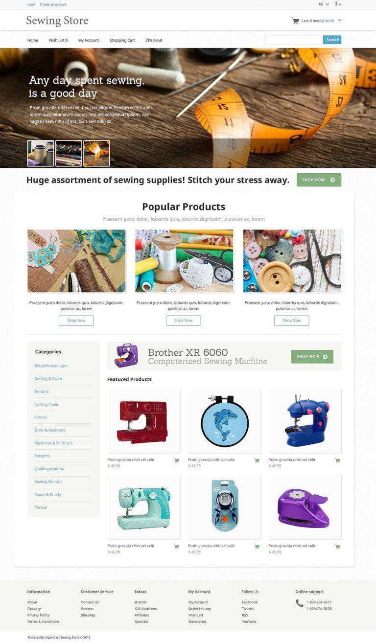 Sewing Knitting OpenCart Template New Screenshots BIG