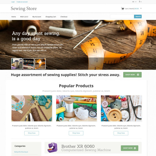 Sewing Store - OpenCart Template based on Bootstrap