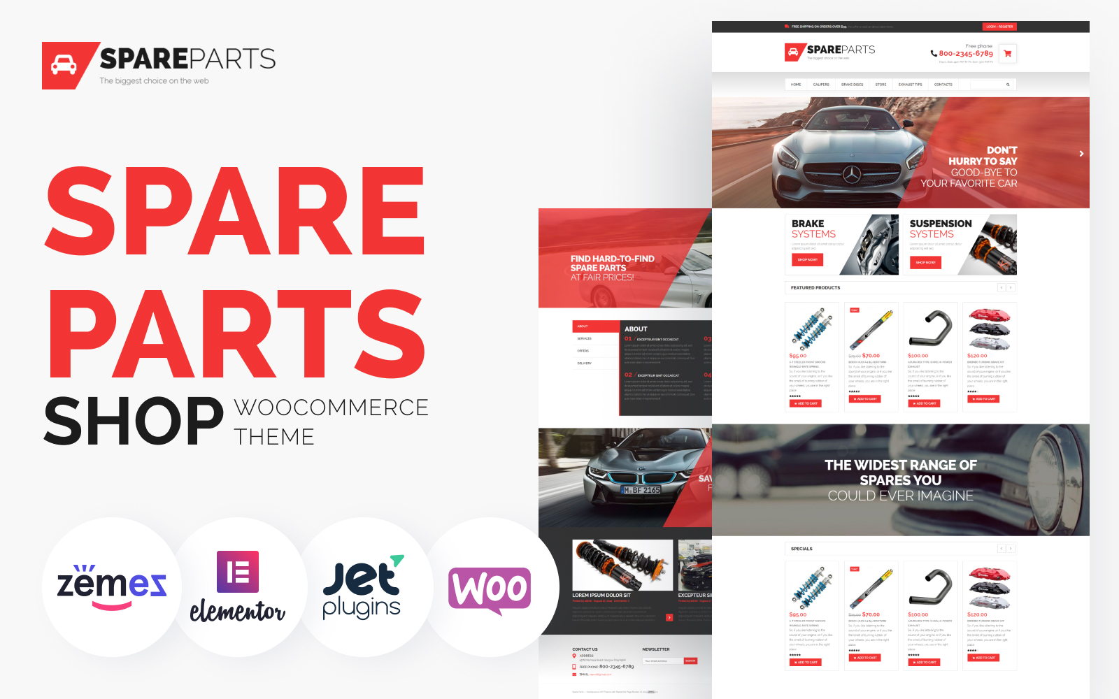 """SpareParts - Spare Parts Shop ECommerce Modern Elementor"" Responsive WooCommerce Thema №53307"