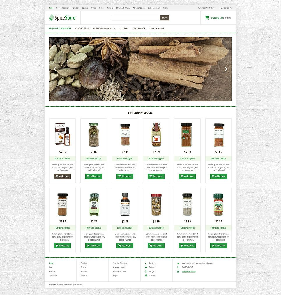 Spice House OsCommerce Template New Screenshots BIG