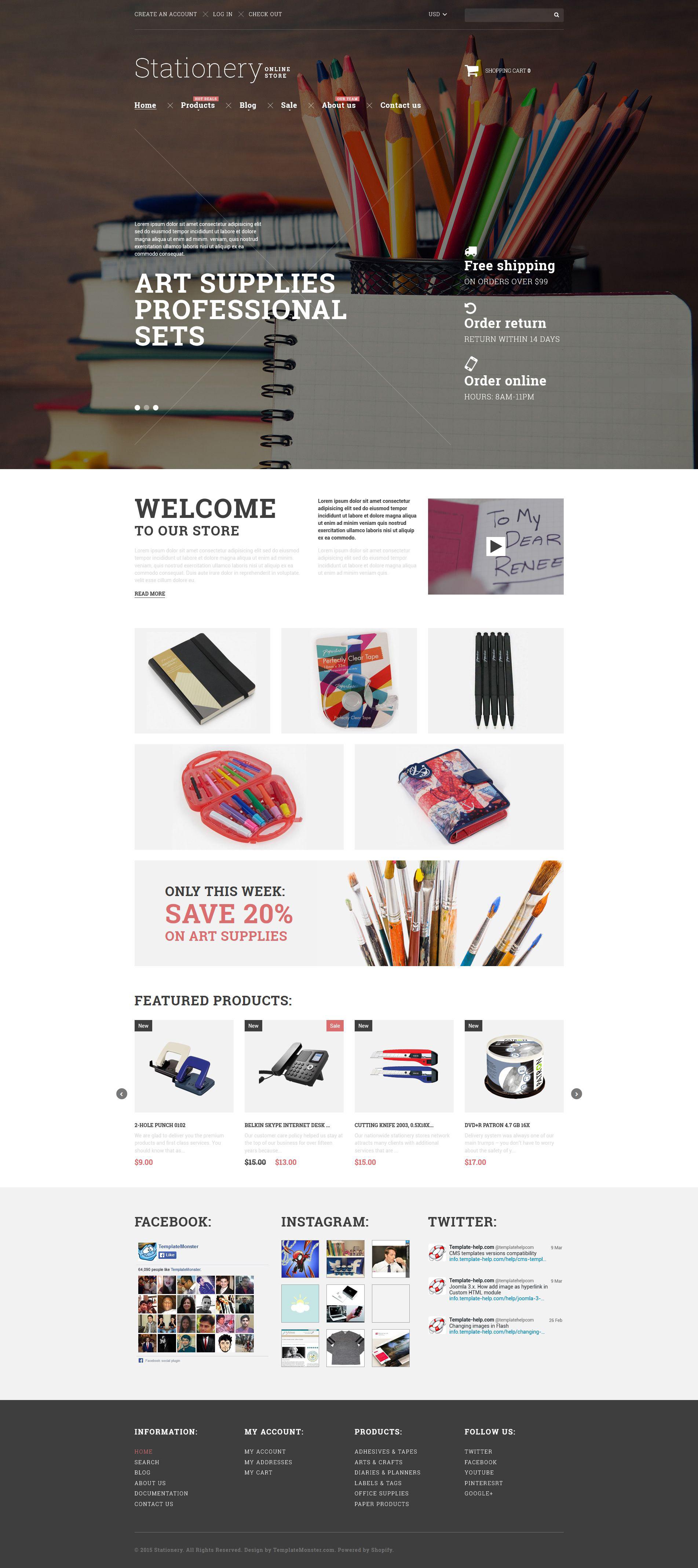 Stationery Goods Shopify Theme