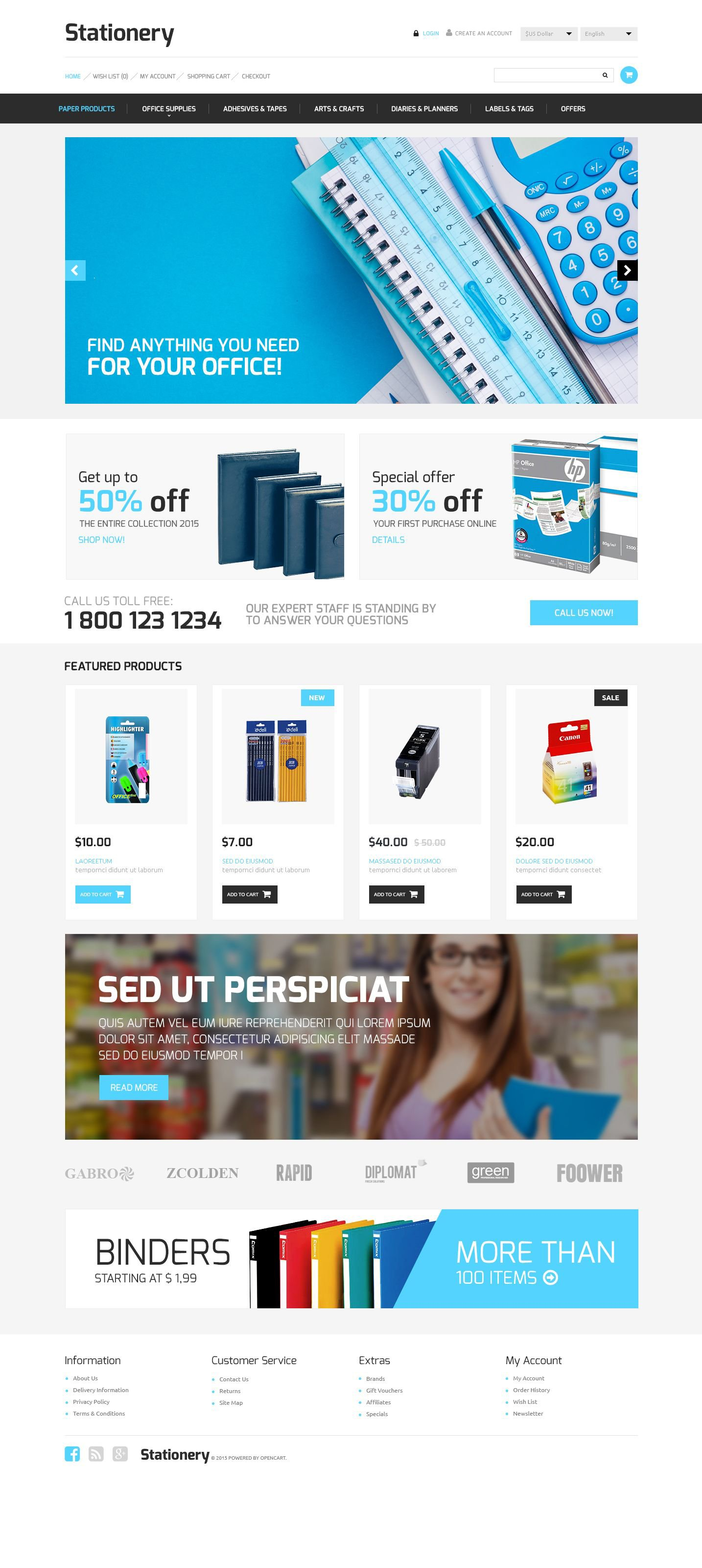 """""""Stationery Store"""" Responsive OpenCart Template №53339"""