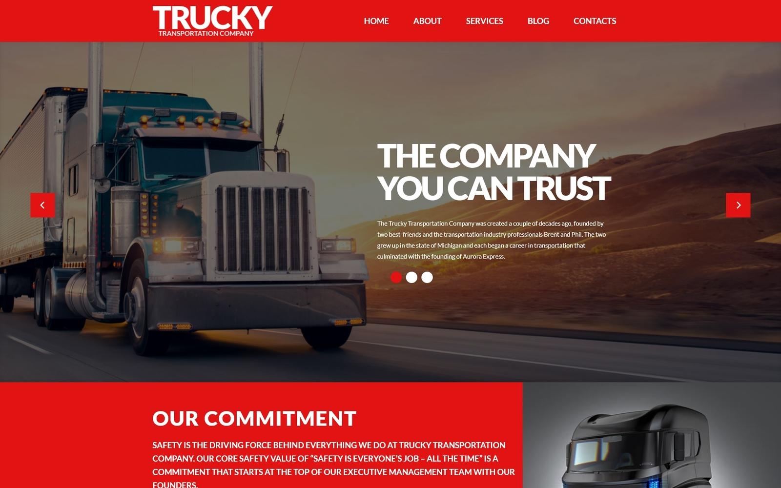 "Tema WordPress Responsive #53388 ""Trucky - Transportation & Logistics Responsive"""