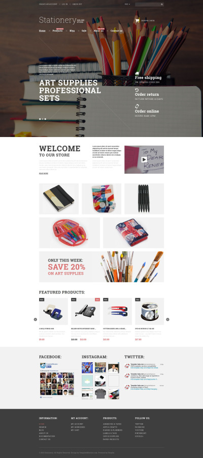 Stationery Responsive Tema Shopify
