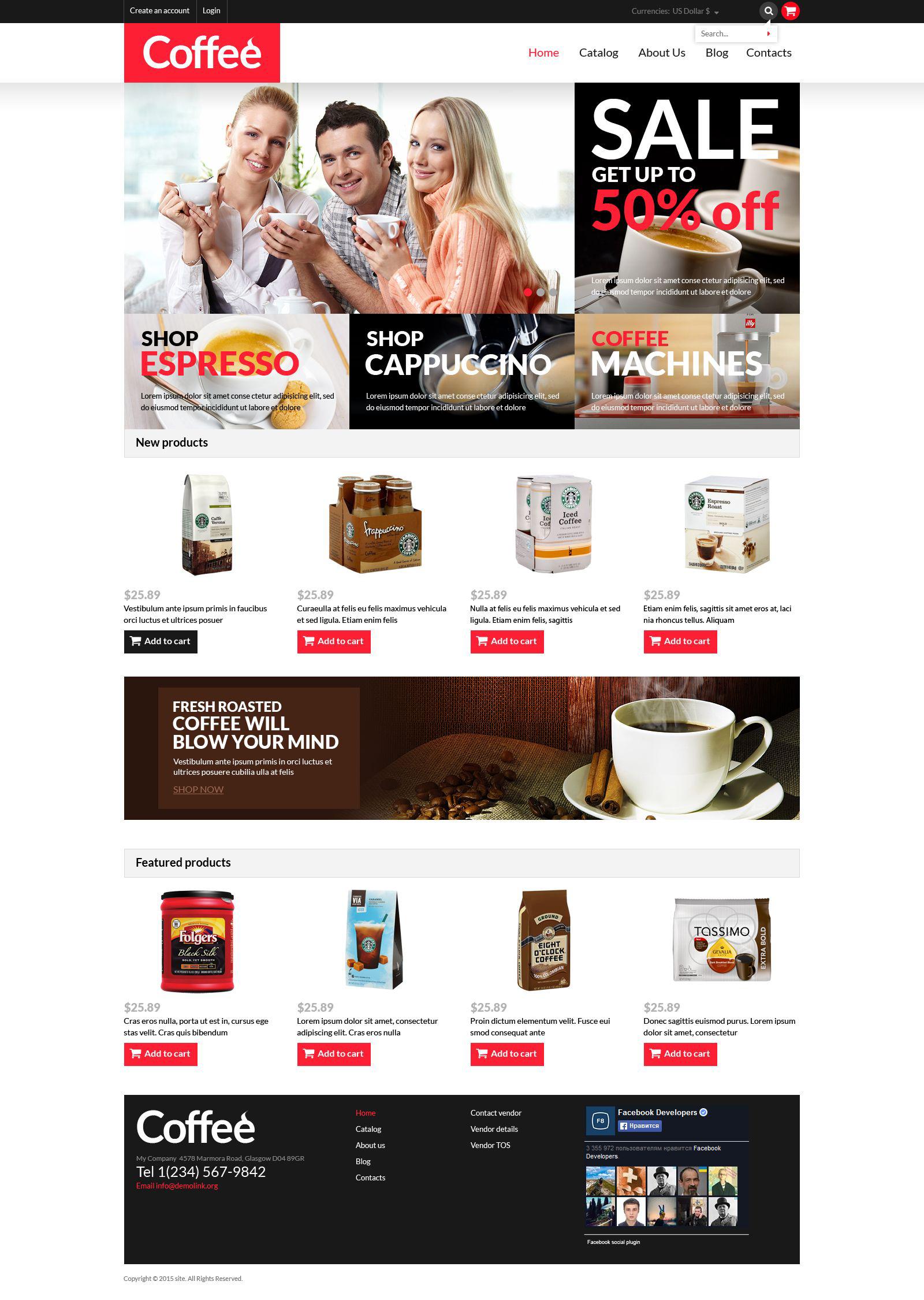 VirtueMart šablona Coffee Shop Templates #53304