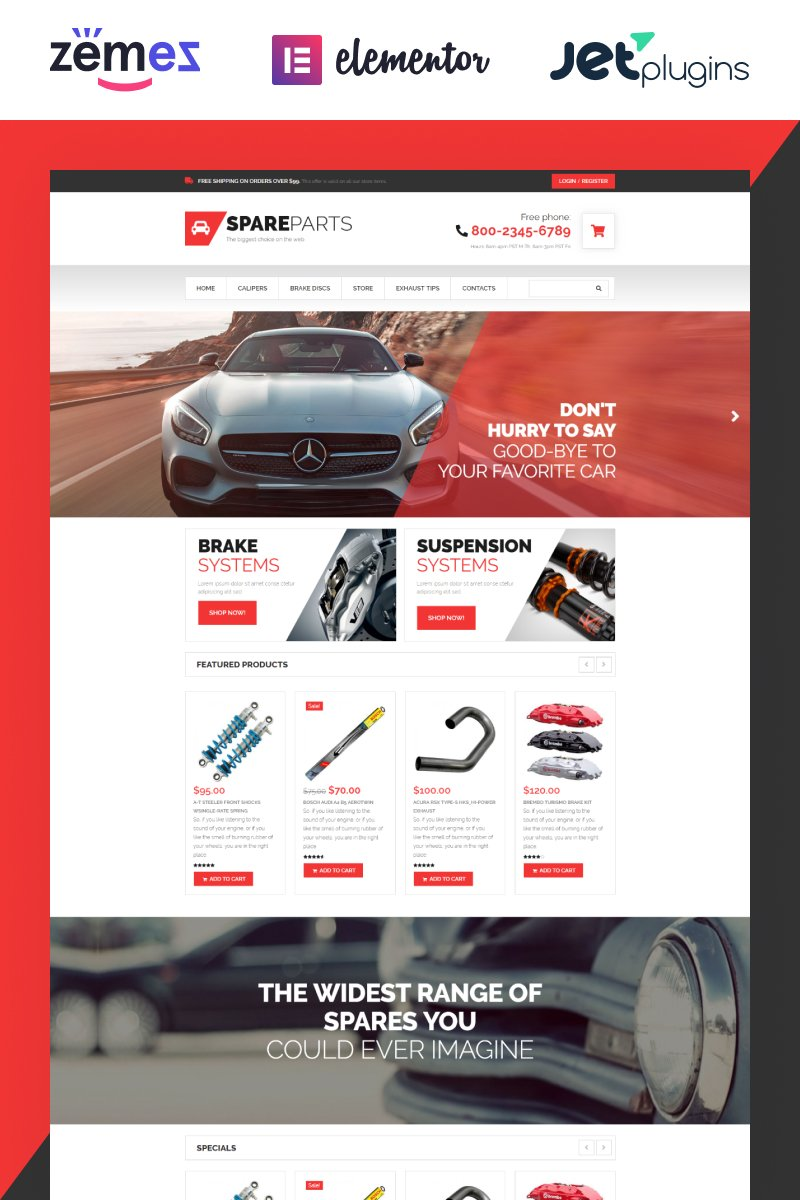 "WooCommerce Theme namens ""SpareParts - Spare Parts Shop ECommerce Modern Elementor"" #53307"