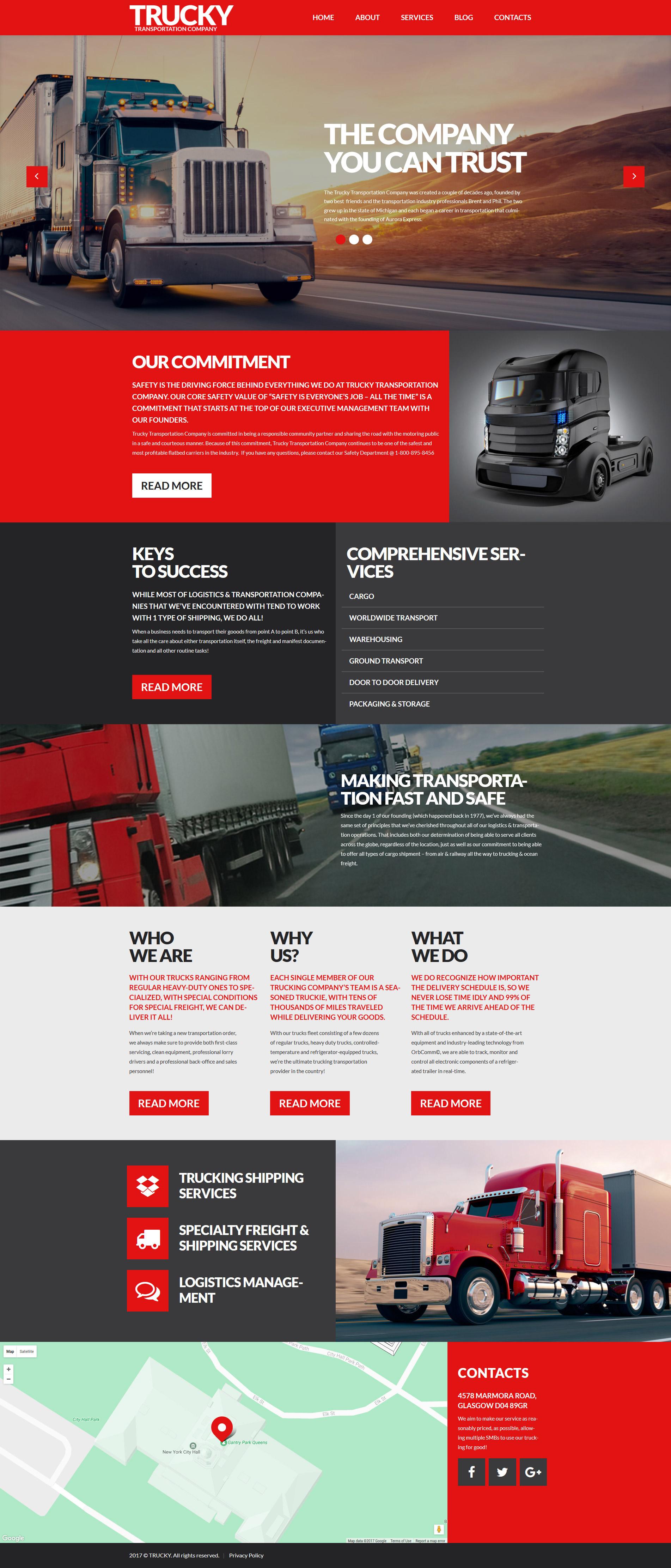 Шаблон Trucky сайта на тему грузоперевозки #53388