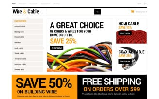 Cords and Wires Store OpenCart Template