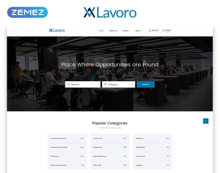 Lavoro - Jobs Portal Multipage HTML5 Website Template
