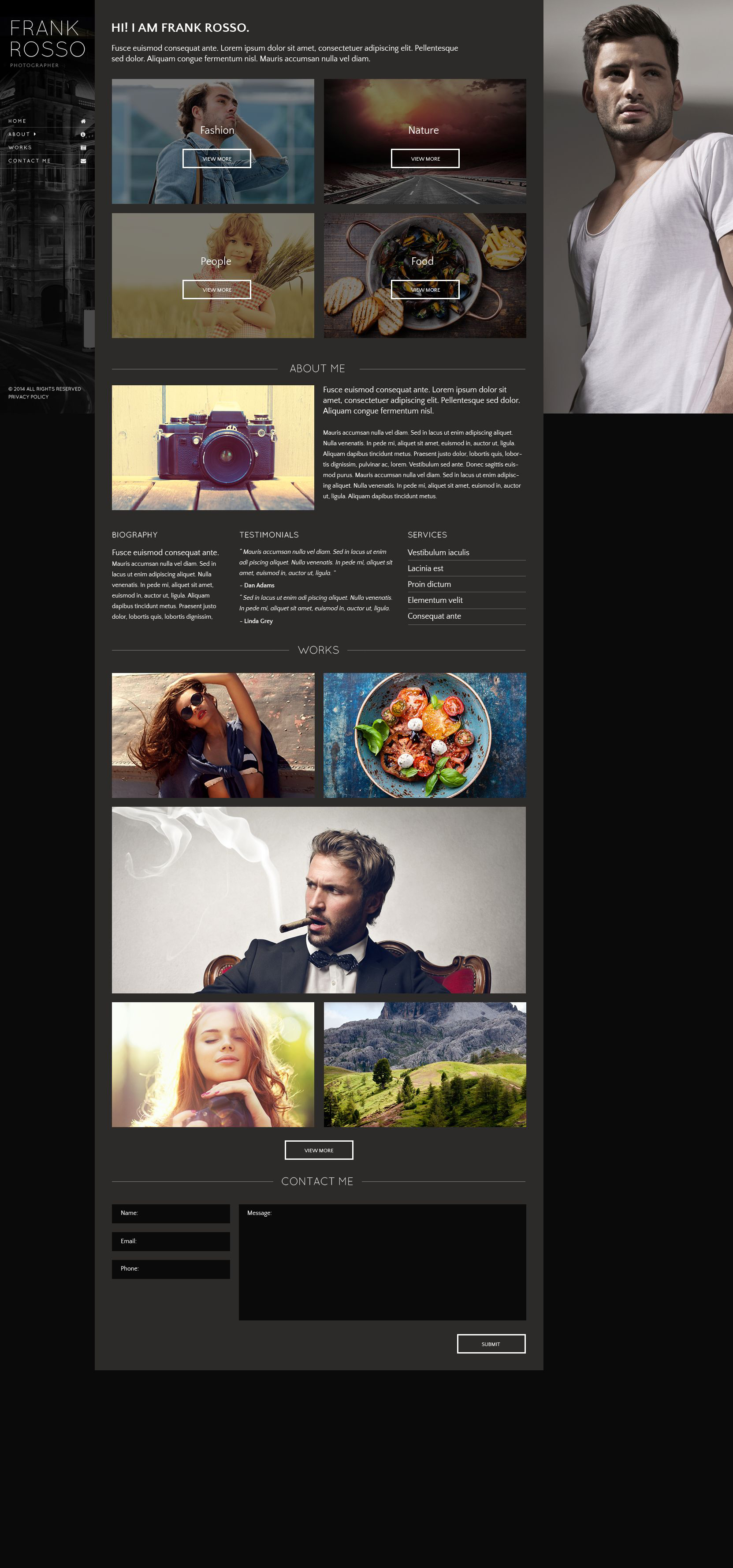 The Frank Rosso Photographer Responsive Javascript Animated Design 53418, one of the best website templates of its kind (art & photography, most popular), also known as Frank Rosso photographer website template, portfolio website template, photography website template, photos website template, camera website template, pictures website template, art gallery website template, digital cameras website template, picture company website template, models and related with Frank Rosso photographer, portfolio, photography, photos, camera, pictures, art gallery, digital cameras, picture company, models, etc.