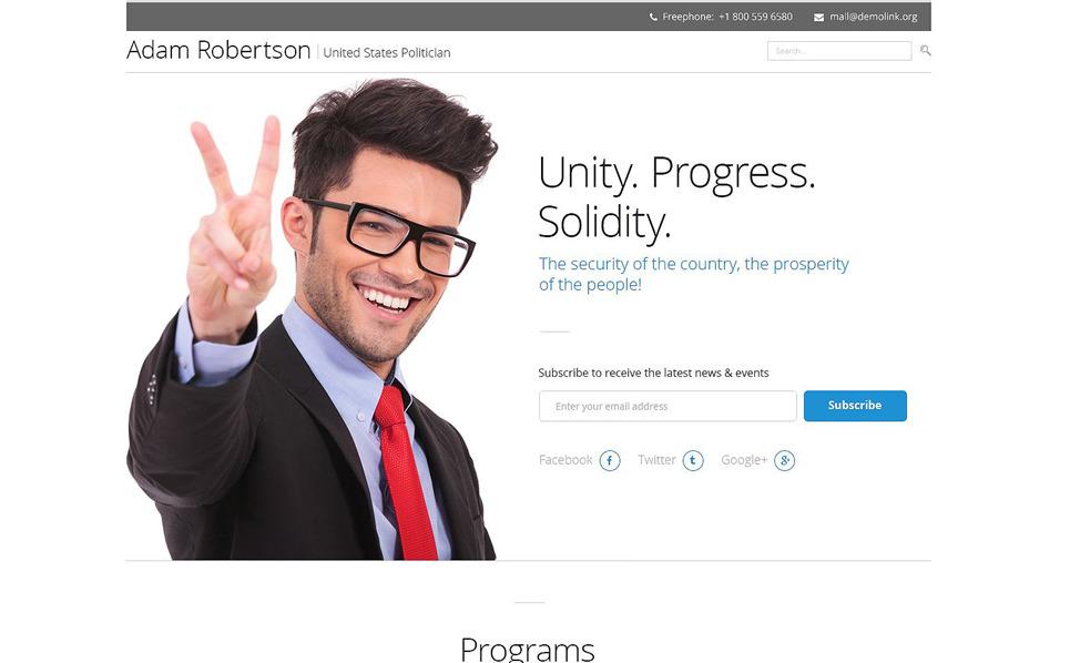 Responzivní Šablona mikrostránek na téma Politický kandidát New Screenshots BIG