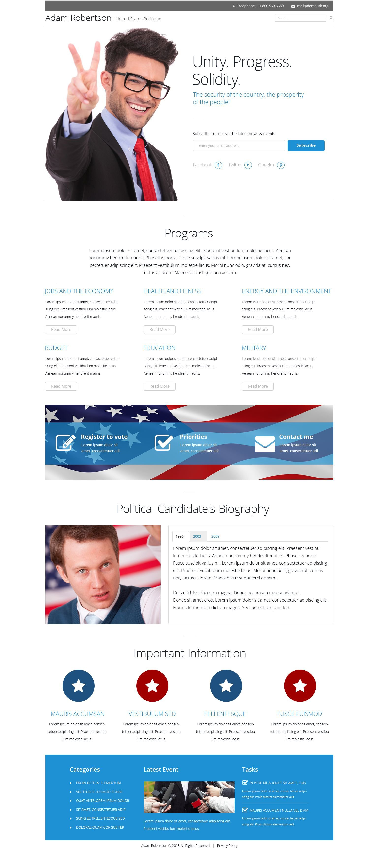 The Adam Robertson Politician Landing Page Template Design 53427, one of the best Landing Page templates of its kind (politics, most popular), also known as Adam Robertson politician Landing Page template, political organization Landing Page template, leader Landing Page template, chairman Landing Page template, campaign Landing Page template, constitution Landing Page template, member Landing Page template, principles Landing Page template, information Landing Page template, donation Landing Page template, platform Landing Page template, flag Landing Page template, candidates Landing Page template, debates Landing Page template, structure Landing Page template, election Landing Page template, program Landing Page template, priority and related with Adam Robertson politician, political organization, leader, chairman, campaign, constitution, member, principles, information, donation, platform, flag, candidates, debates, structure, election, program, priority, etc.