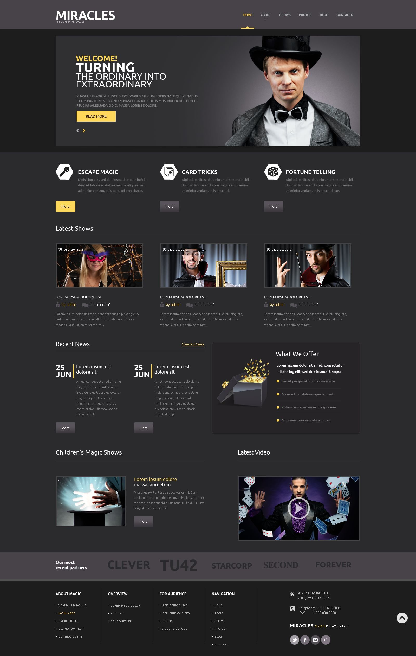 The Magician Magic Show WordPress Design 53433, one of the best WordPress themes of its kind (entertainment, most popular), also known as magician magic show WordPress template, trick WordPress template, fun WordPress template, sorcery WordPress template, unknowable WordPress template, entertainment WordPress template, wizard WordPress template, conjurer WordPress template, illusionis and related with magician magic show, trick, fun, sorcery, unknowable, entertainment, wizard, conjurer, illusionis, etc.