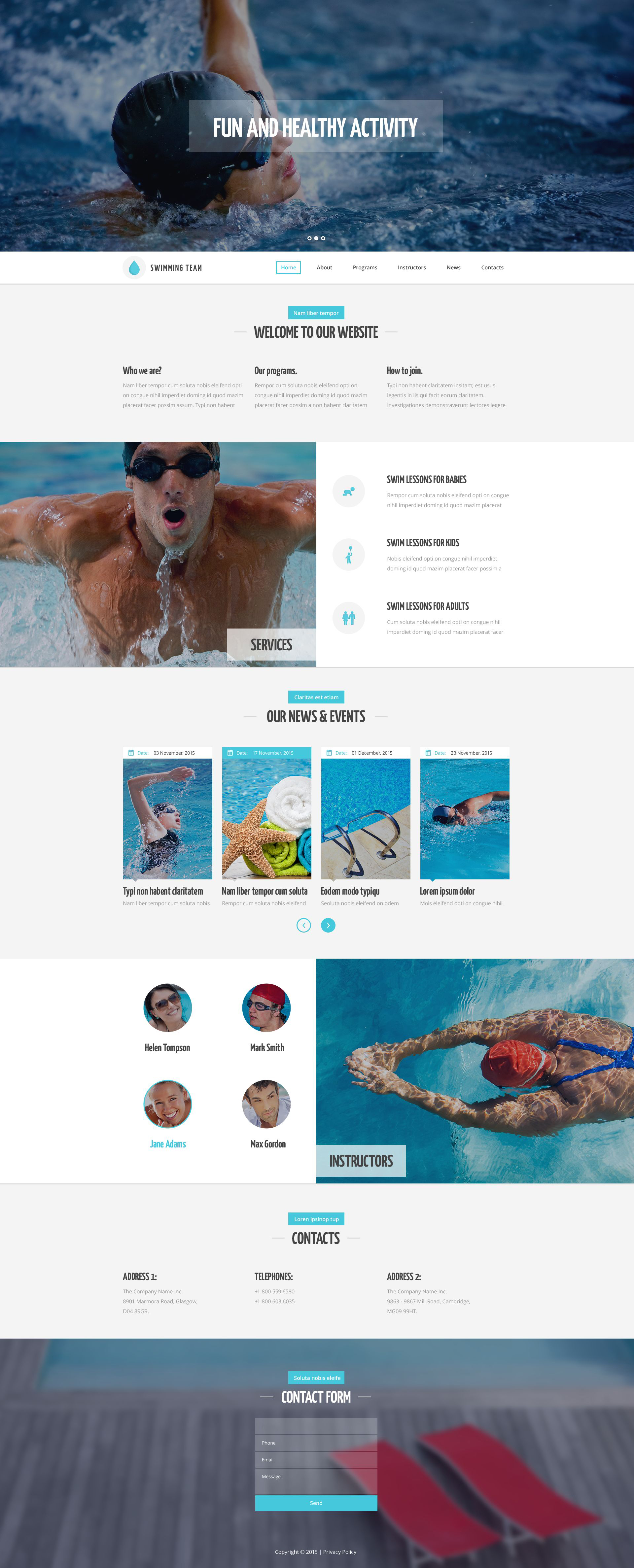 The Swim Sport School Responsive Javascript Animated Design 53446, one of the best website templates of its kind (sport, most popular), also known as swim sport school website template, swimming website template, pool website template, water website template, training website template, team website template, lessons and related with swim sport school, swimming, pool, water, training, team, lessons, etc.