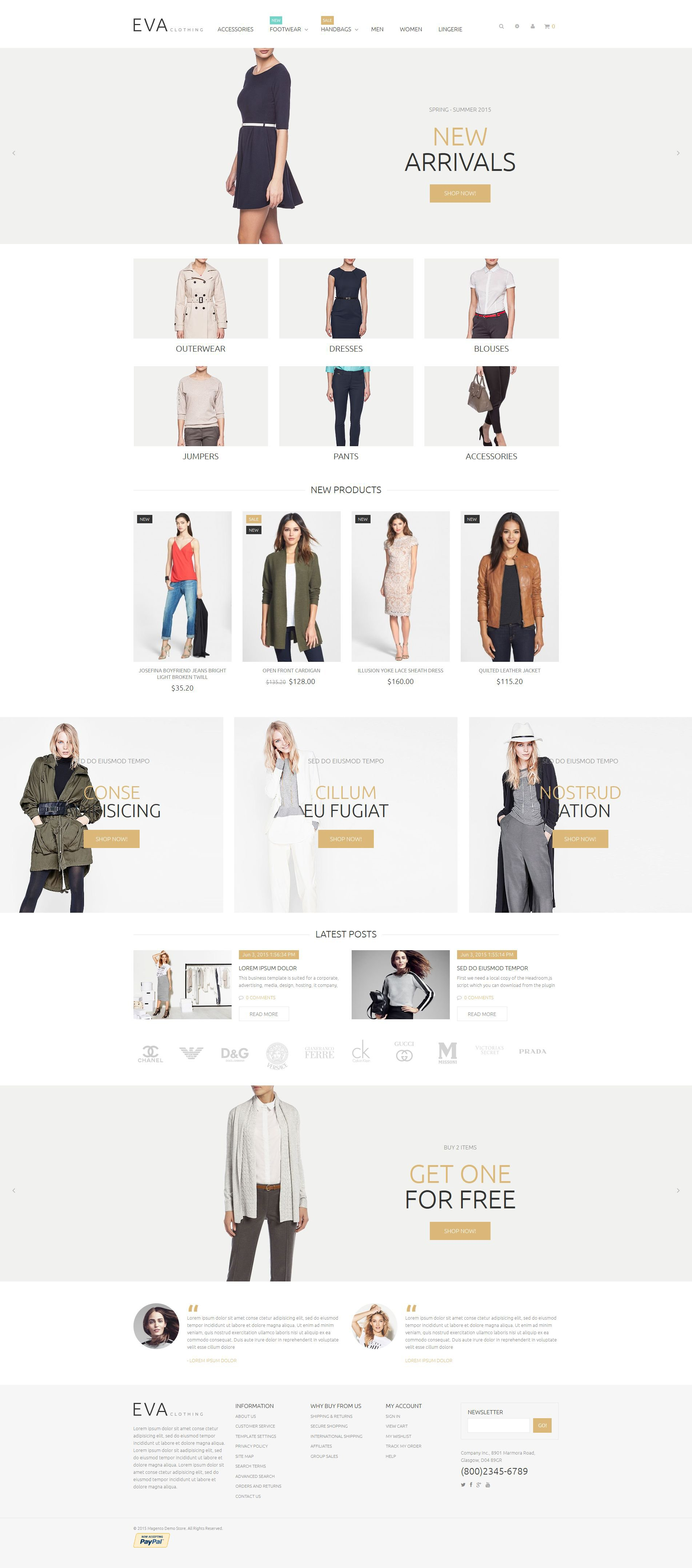 The Eva Clothes Magento Design 53452, one of the best Magento themes of its kind (fashion, most popular), also known as eva clothes Magento template, wear Magento template, clothing Magento template, apparel Magento template, work Magento template, shoes Magento template, gloves Magento template, wear Magento template, Safety Boots WEAR footwear Magento template, shirts Magento template, protective Magento template, goggles Magento template, protective Magento template, eyewear and related with eva clothes, wear, clothing, apparel, work, shoes, gloves, wear, Safety Boots WEAR footwear, shirts, protective, goggles, protective, eyewear, etc.