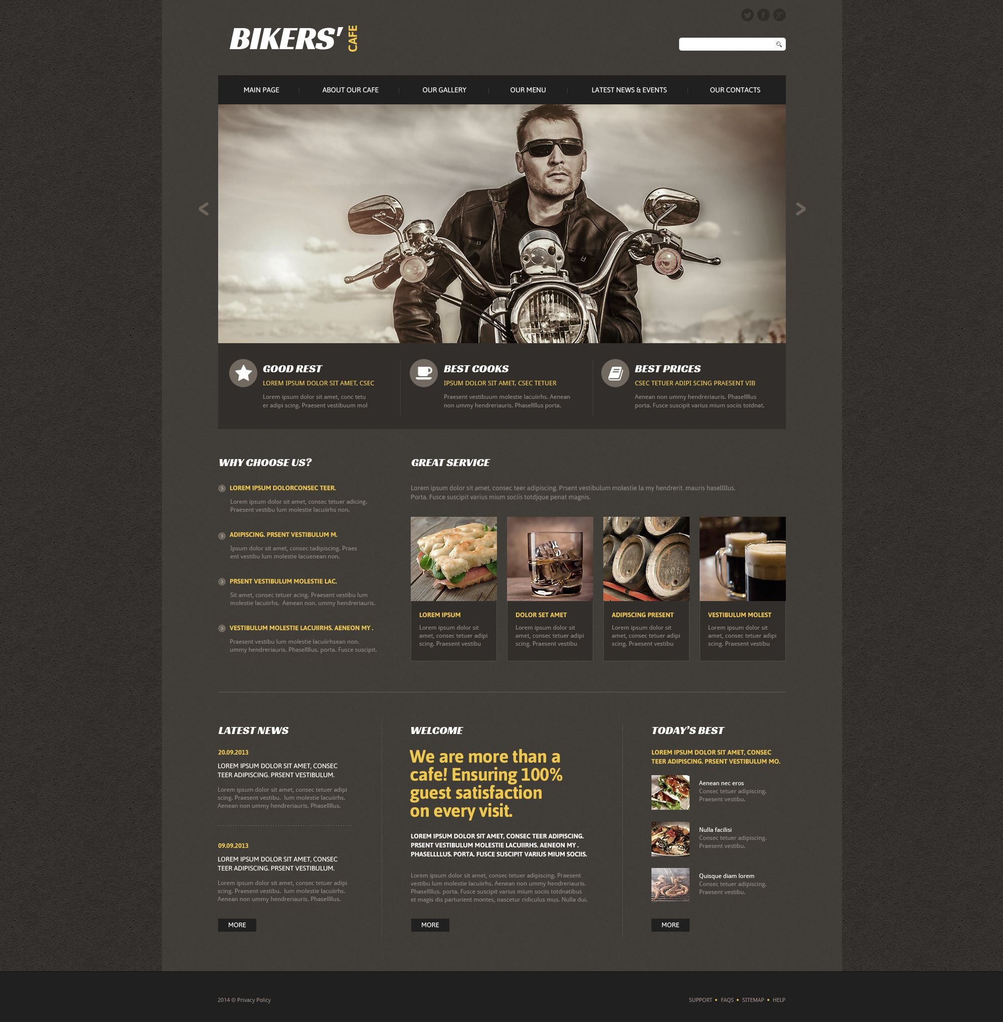 The Bikers Biker Cafe Restaurant Responsive Javascript Animated Design 53470, one of the best website templates of its kind (cafe and restaurant, most popular), also known as Bikers biker cafe restaurant website template, meat website template, beef website template, pork website template, chicken website template, roast website template, barbecue website template, grill website template, meal website template, snack website template, food website template, brisket website template, shoulder website template, steak and related with Bikers biker cafe restaurant, meat, beef, pork, chicken, roast, barbecue, grill, meal, snack, food, brisket, shoulder, steak, etc.