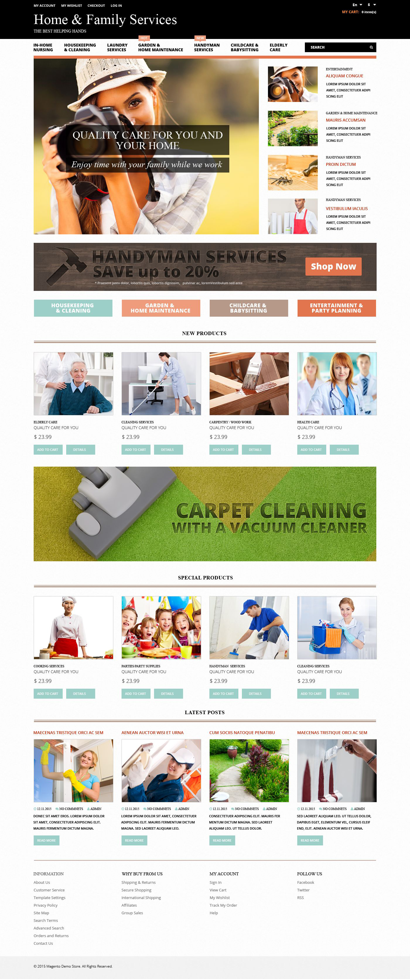 The Home & Family Magento Design 53482, one of the best Magento themes of its kind (most popular, maintenance services), also known as home & family Magento template, services Magento template, handyman Magento template, cleaning Magento template, tools Magento template, cooking and related with home & family, services, handyman, cleaning, tools, cooking, etc.