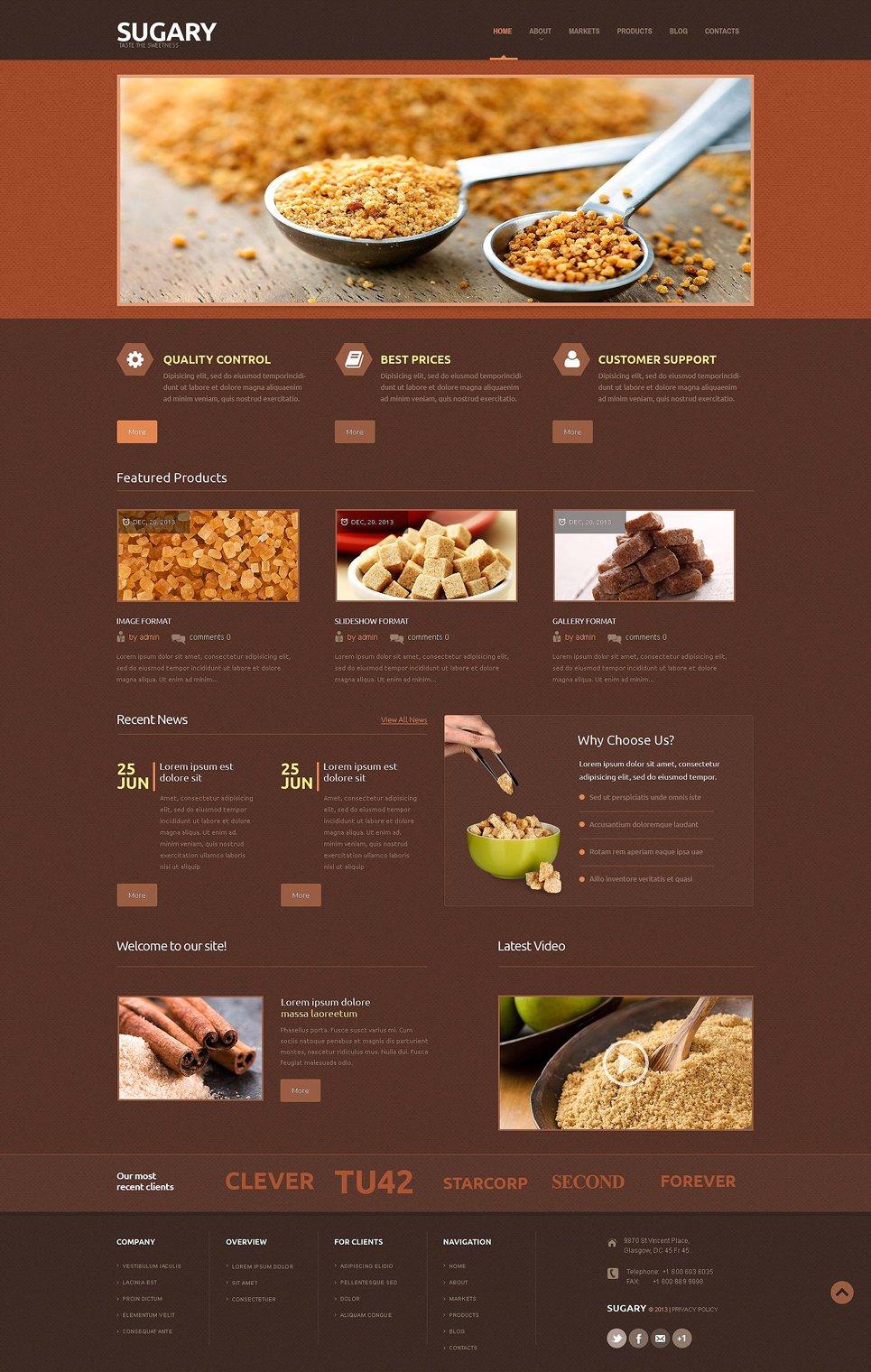 Адаптивный шаблон сайта на тему магазин еды #53434