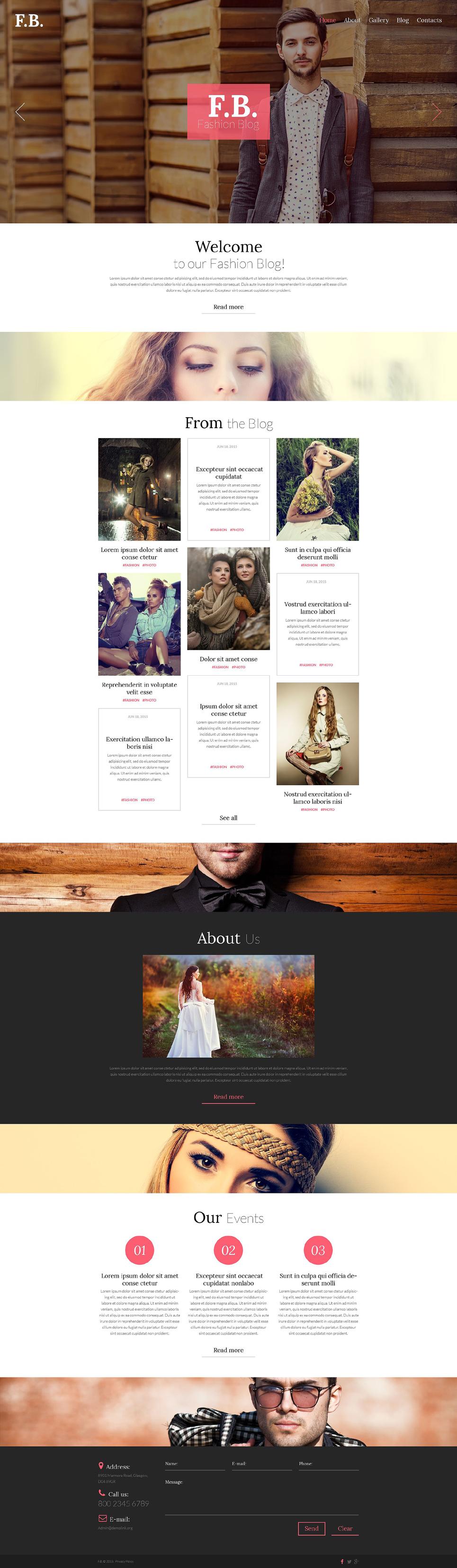Адаптивный шаблон сайта на тему блог о моде #53435