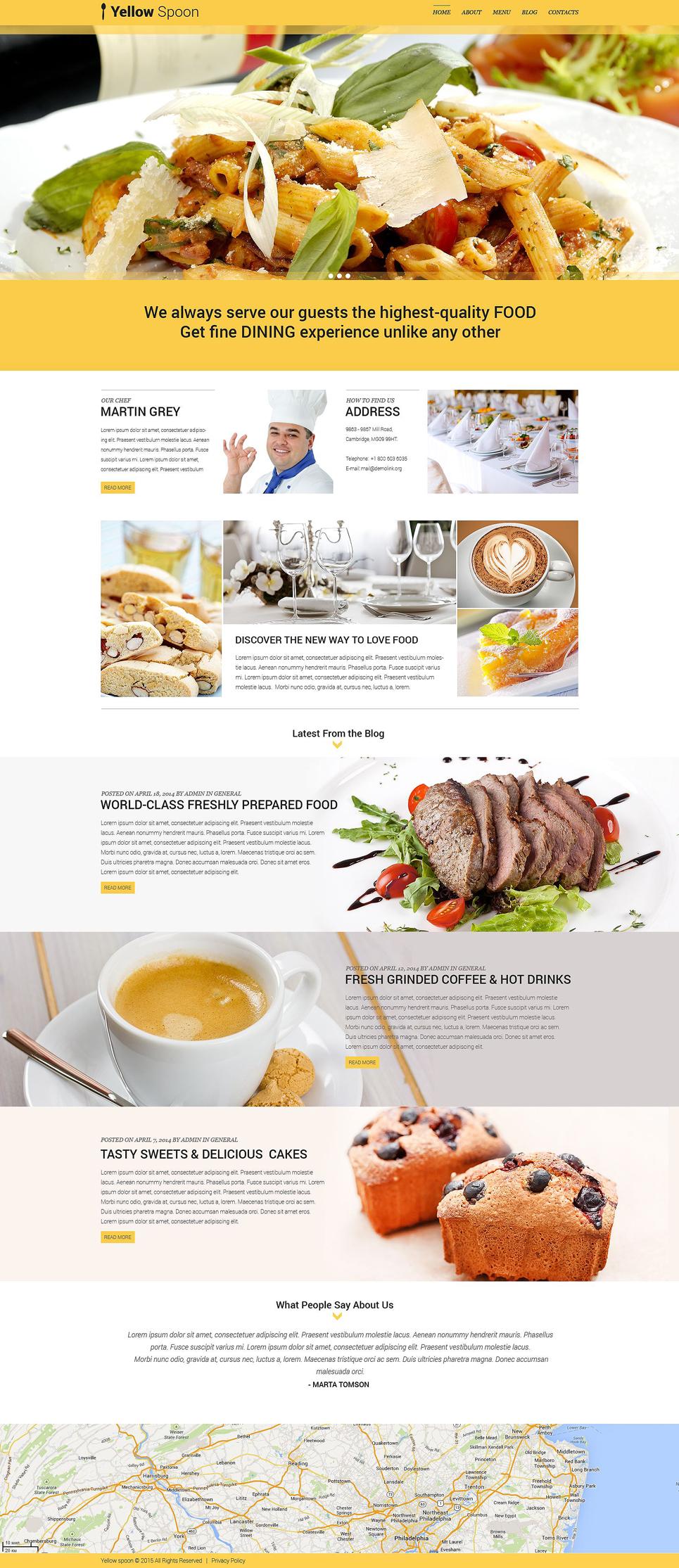 Адаптивный шаблон сайта на тему кафе и ресторан #53436
