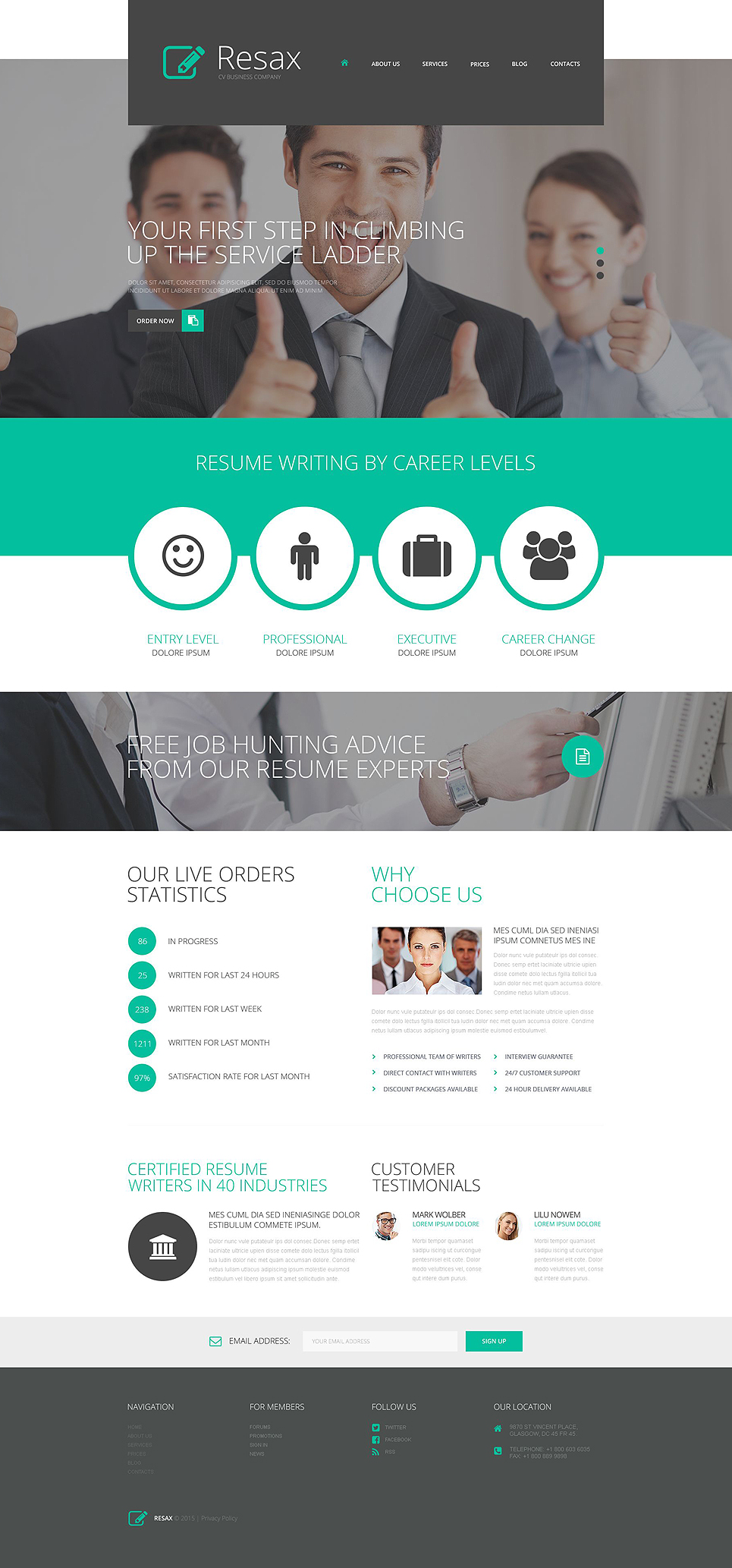 Адаптивный шаблон сайта на тему бизнес и услуги #53443