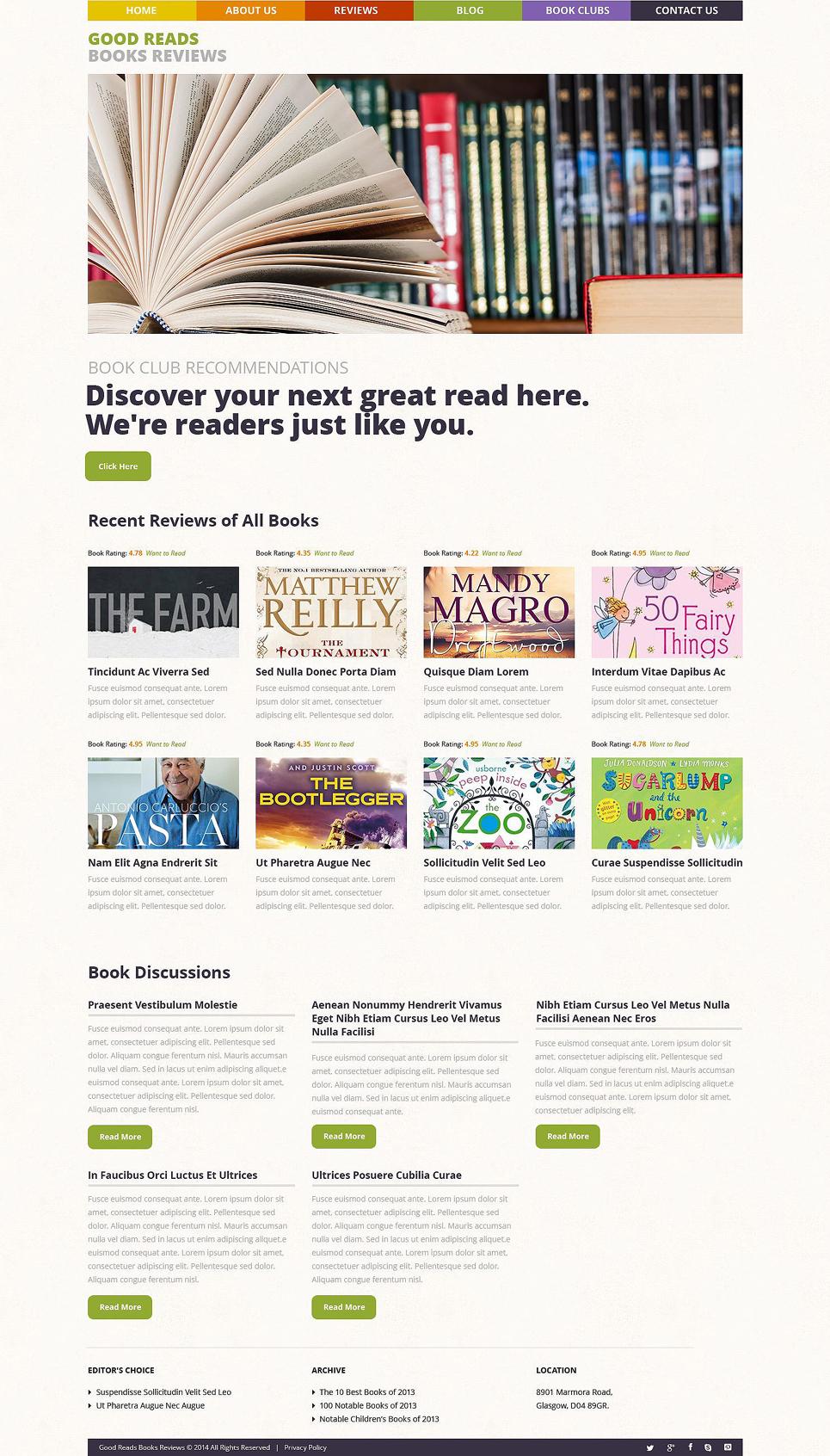 Адаптивный шаблон сайта на тему обзор книг #53486