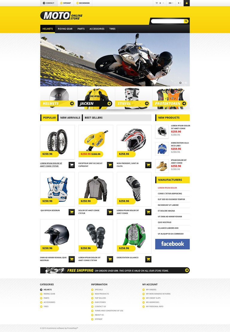 Bike Shop PrestaShop Theme New Screenshots BIG