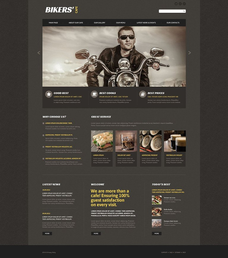 Bikers' Cafe Website Template New Screenshots BIG