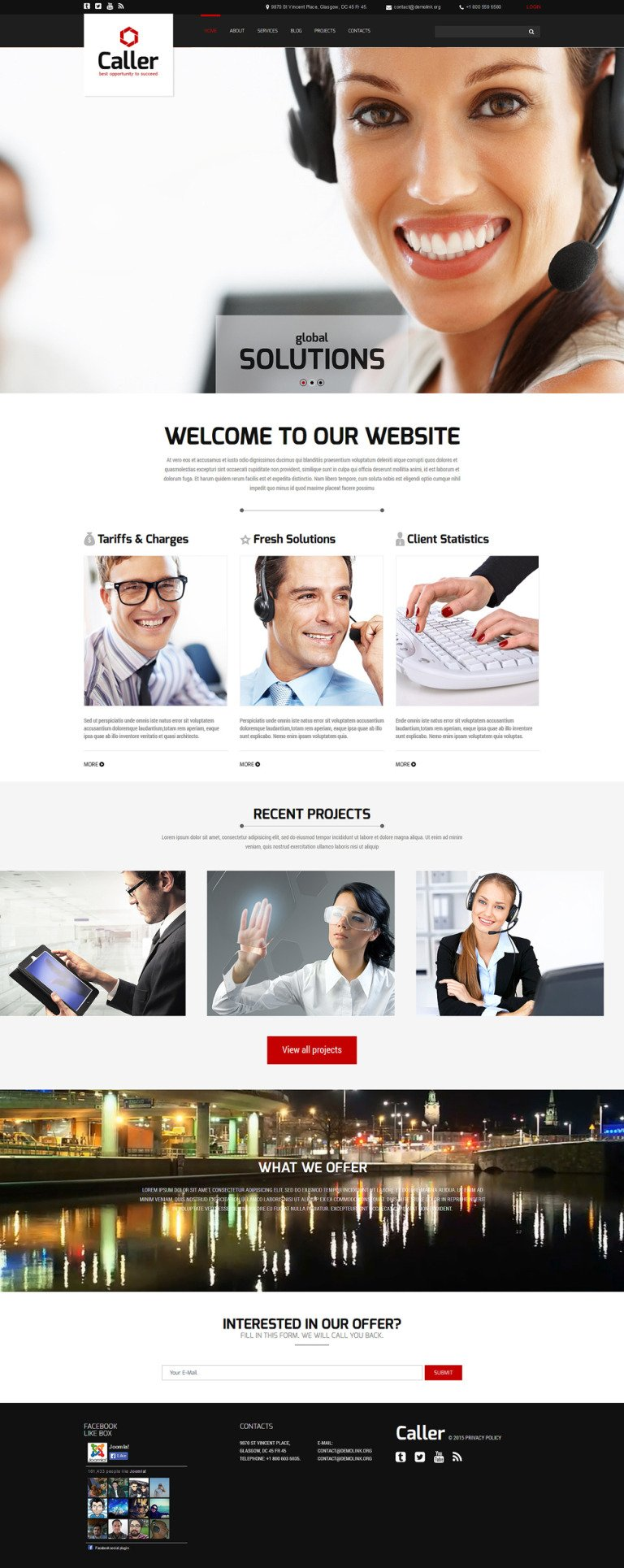 Call Center Joomla Template New Screenshots BIG