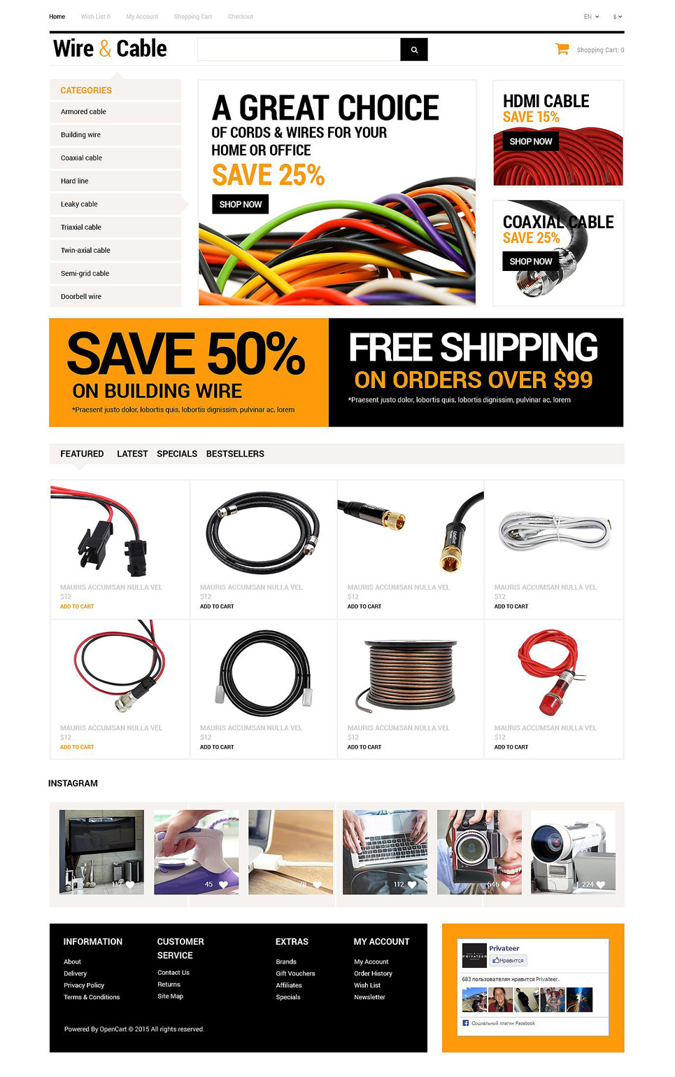 Cords and Wires Store OpenCart Template New Screenshots BIG