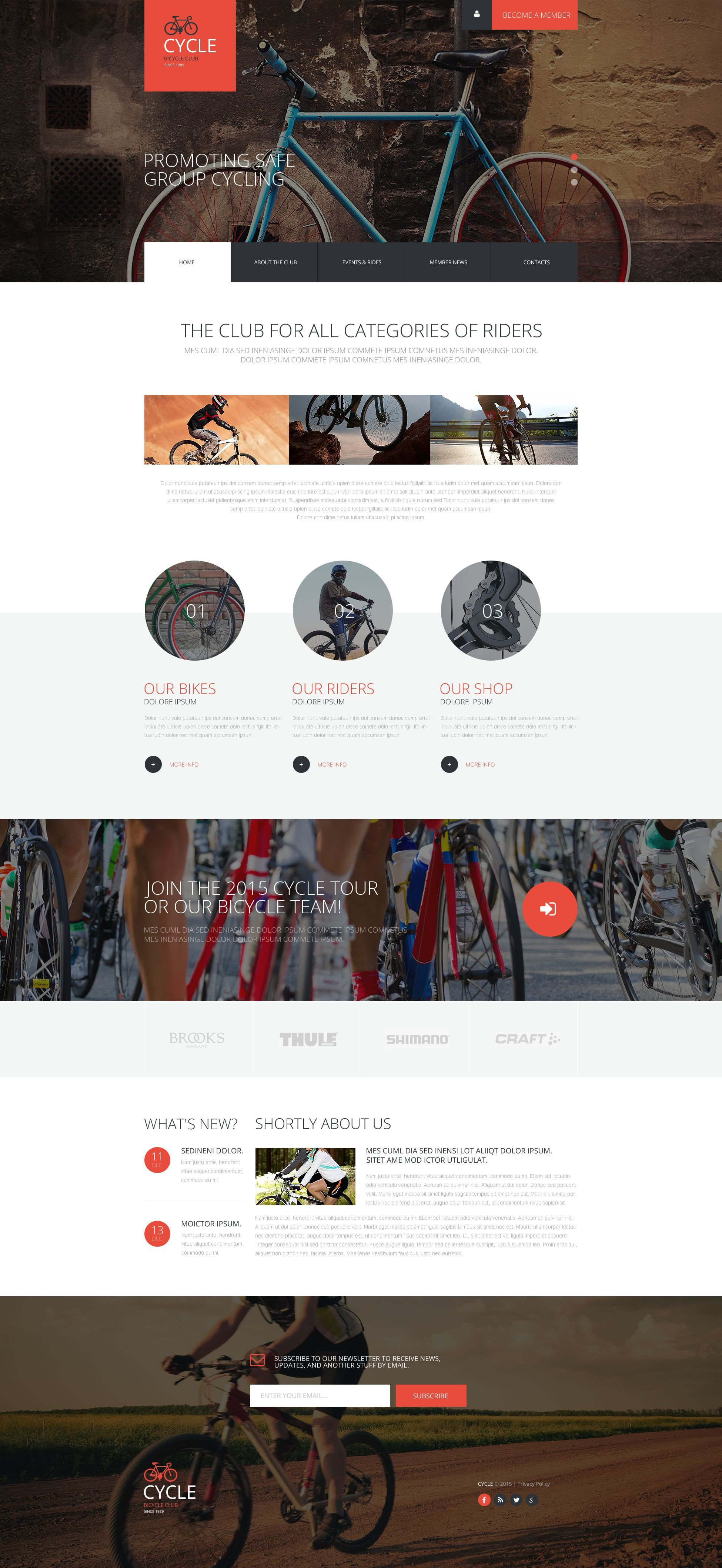 Cycling Club Website Template - screenshot