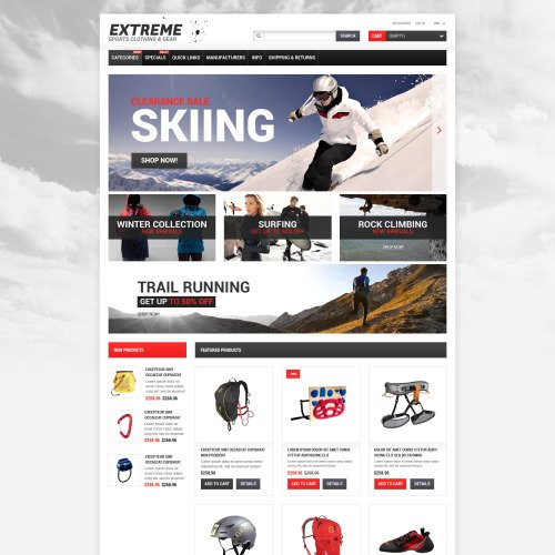 Extreme Sports - ZenCart Template based on Bootstrap