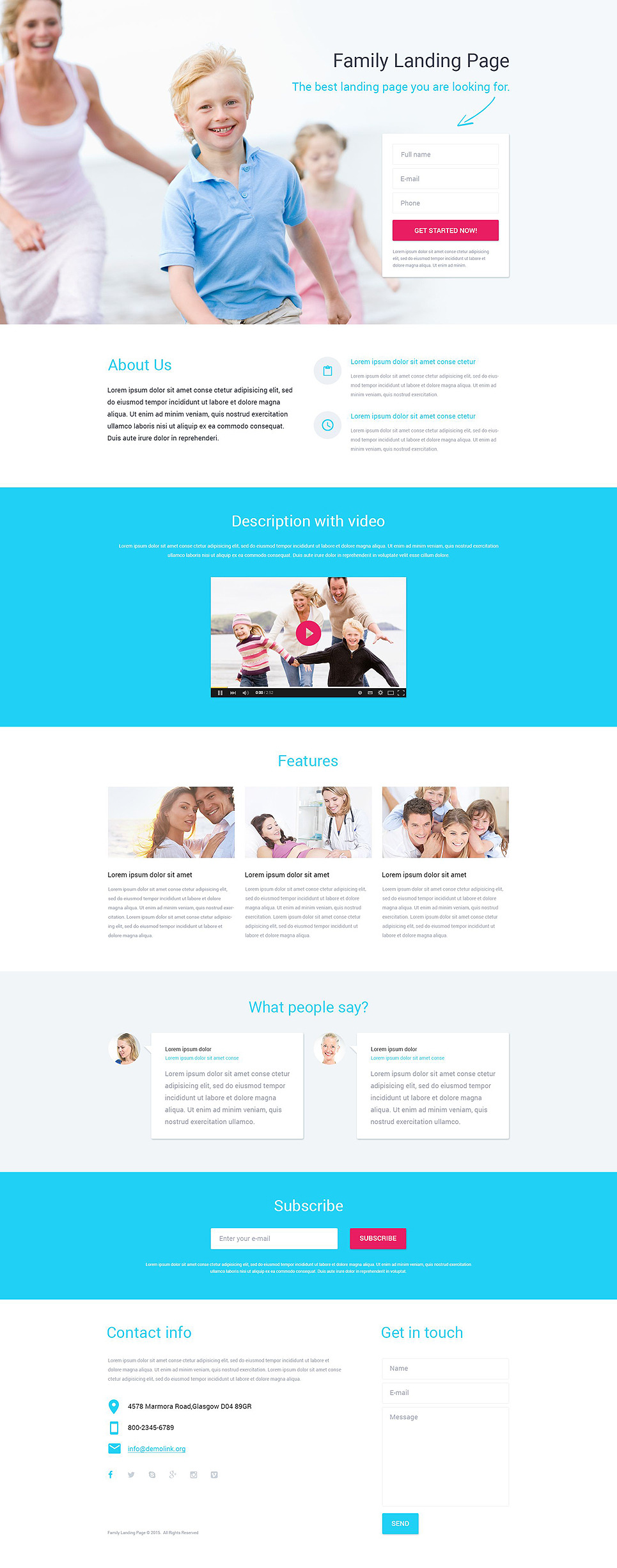 Family Center Responsive Landing Page Template New Screenshots BIG
