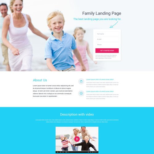 Family Landing Page - Responsive Landing Page Template