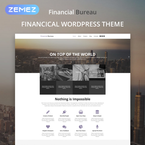 Financial Bureau - WordPress Template based on Bootstrap